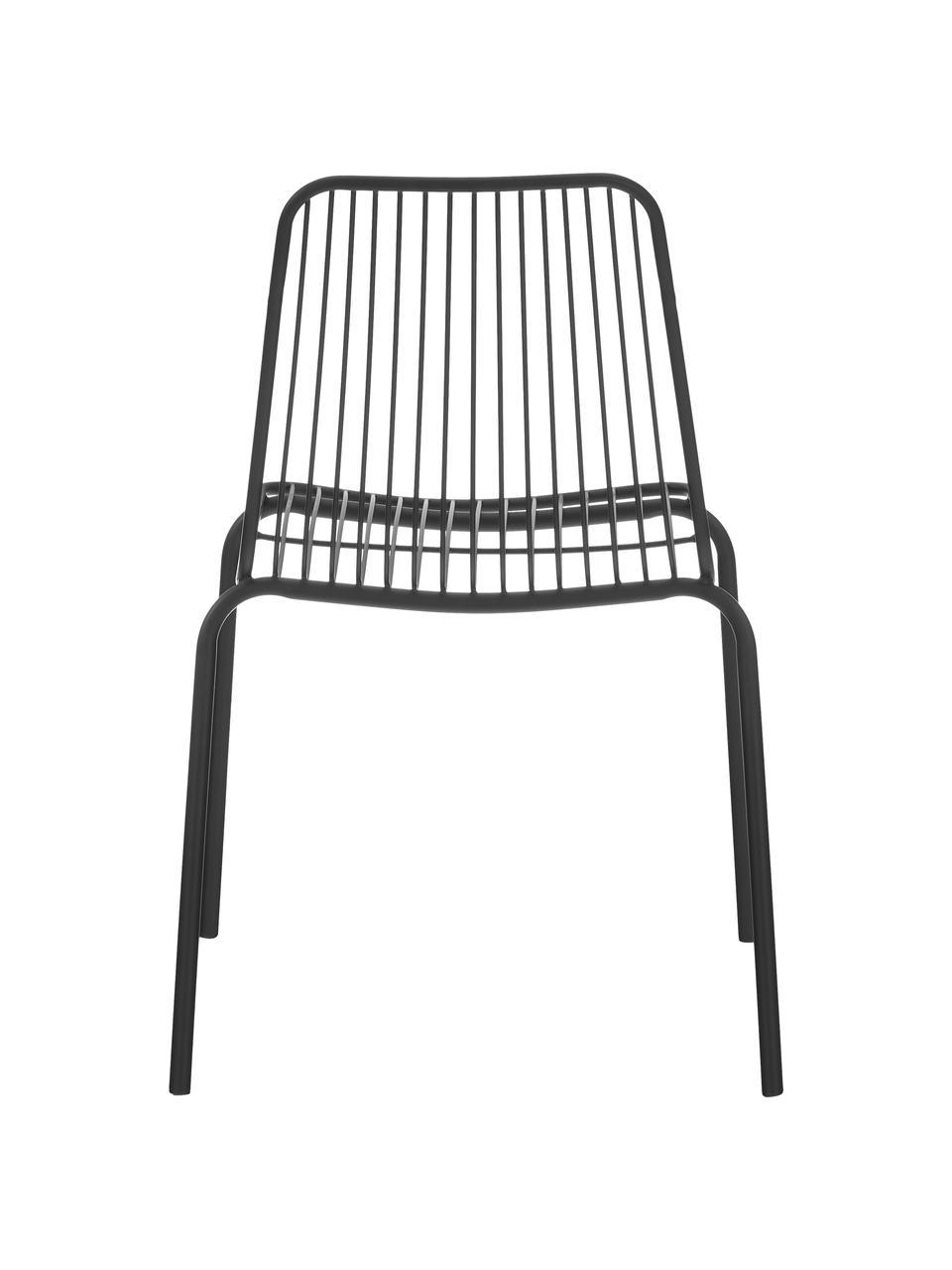 Metalen stoelen Tirana, 2 stuks, Gepoedercoat metaal, Zwart, B 56 x D 54 cm