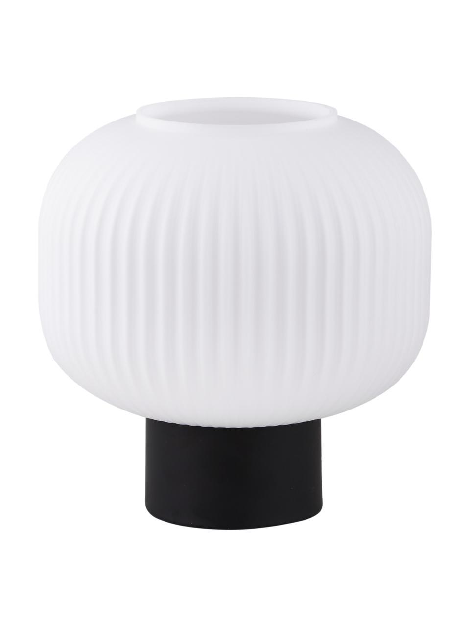 Kleine Tischlampe Charlie aus Opalglas, Lampenschirm: Opalglas, Lampenfuß: Metall, beschichtet, Schwarz, Opalweiß, Ø 20 x H 20 cm