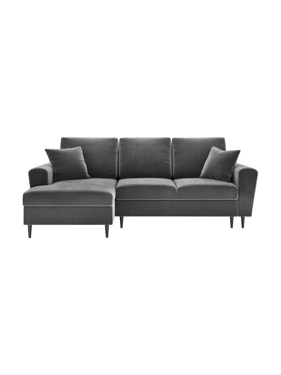 Divano angolare 4 posti in velluto grigio con contenitore Moghan, Grigio, nero, Larg. 236 x Prof. 145 cm