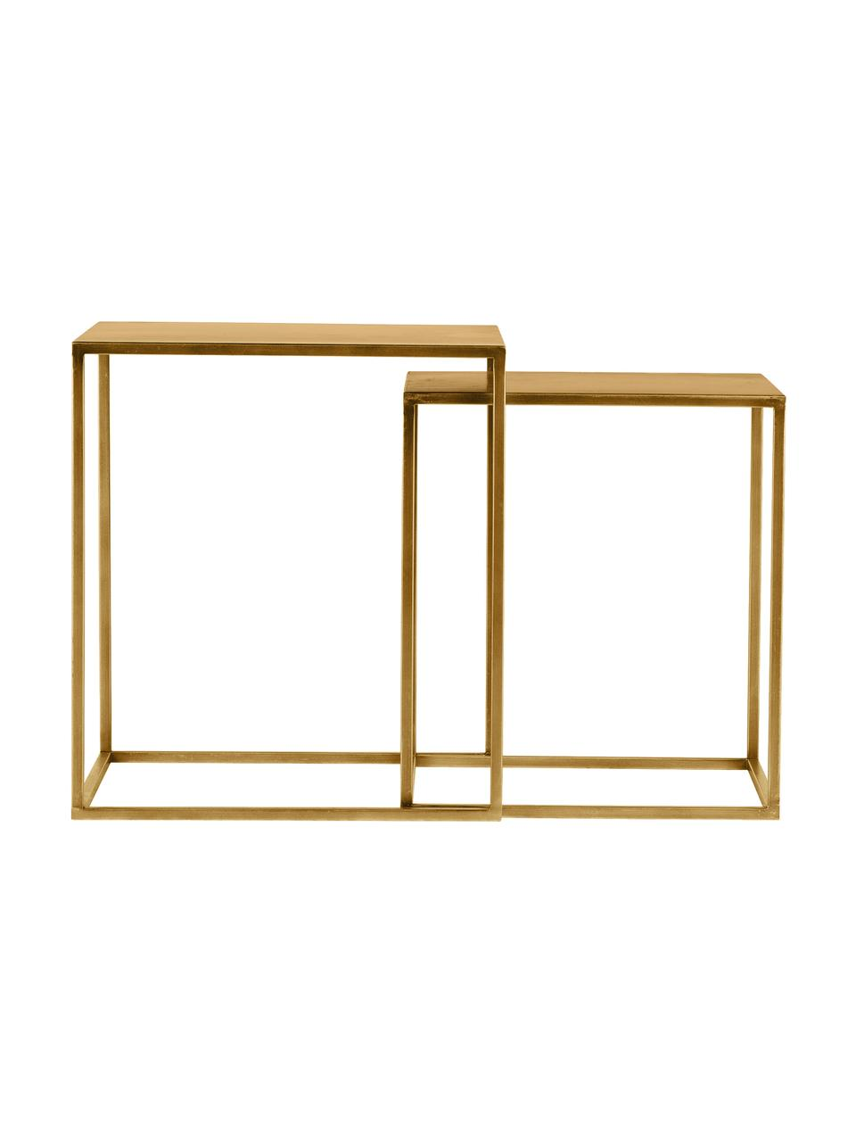 Set 2 tavolini in metallo Ziva, Metallo verniciato, Ottone con finitura anticata, Set in varie misure