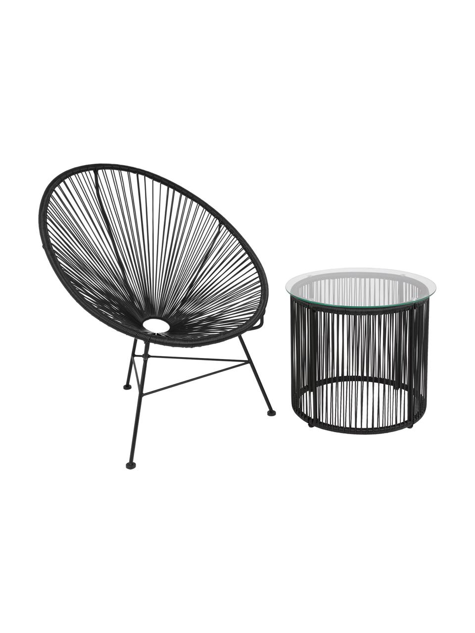 Beistelltisch Bahia aus Kunststoff-Geflecht, Tischplatte: Glas, Stärke, Gestell: Aluminium, pulverbeschich, Schwarz, Ø 50 x H 45 cm
