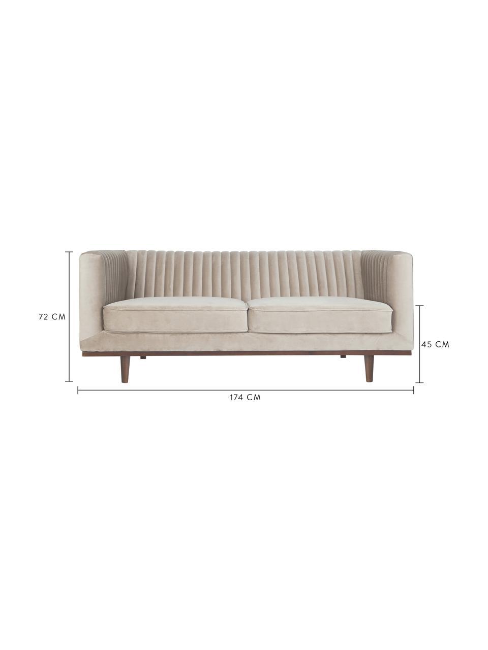 Samt-Sofa Dante (2-Sitzer) in Beige mit Holz-Füßen, Bezug: Polyestersamt, Gestell: Kautschukbaumholz, klarla, Webstoff Beige, B 174 x T 87 cm