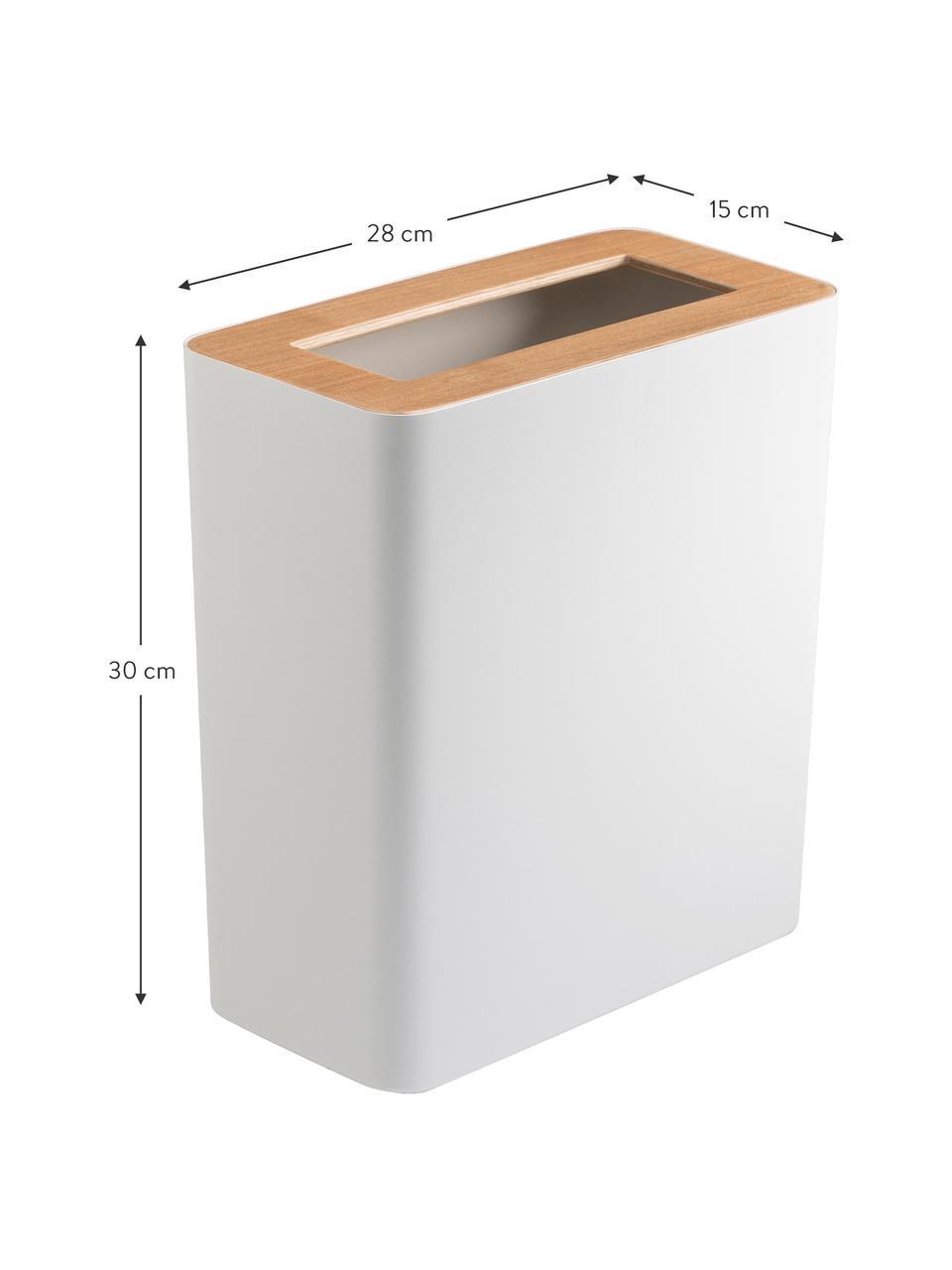 Papierkorb Rin aus lackiertem Stahl, Deckel: Holz, Weiß, Dunkelbraun, B 28 x H 30 cm