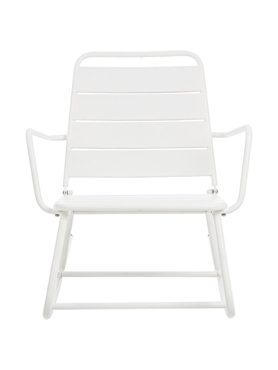 Fotel bujany ogrodowy Lillian, Stal malowana proszkowo, Biały, S 63 x W 74 cm