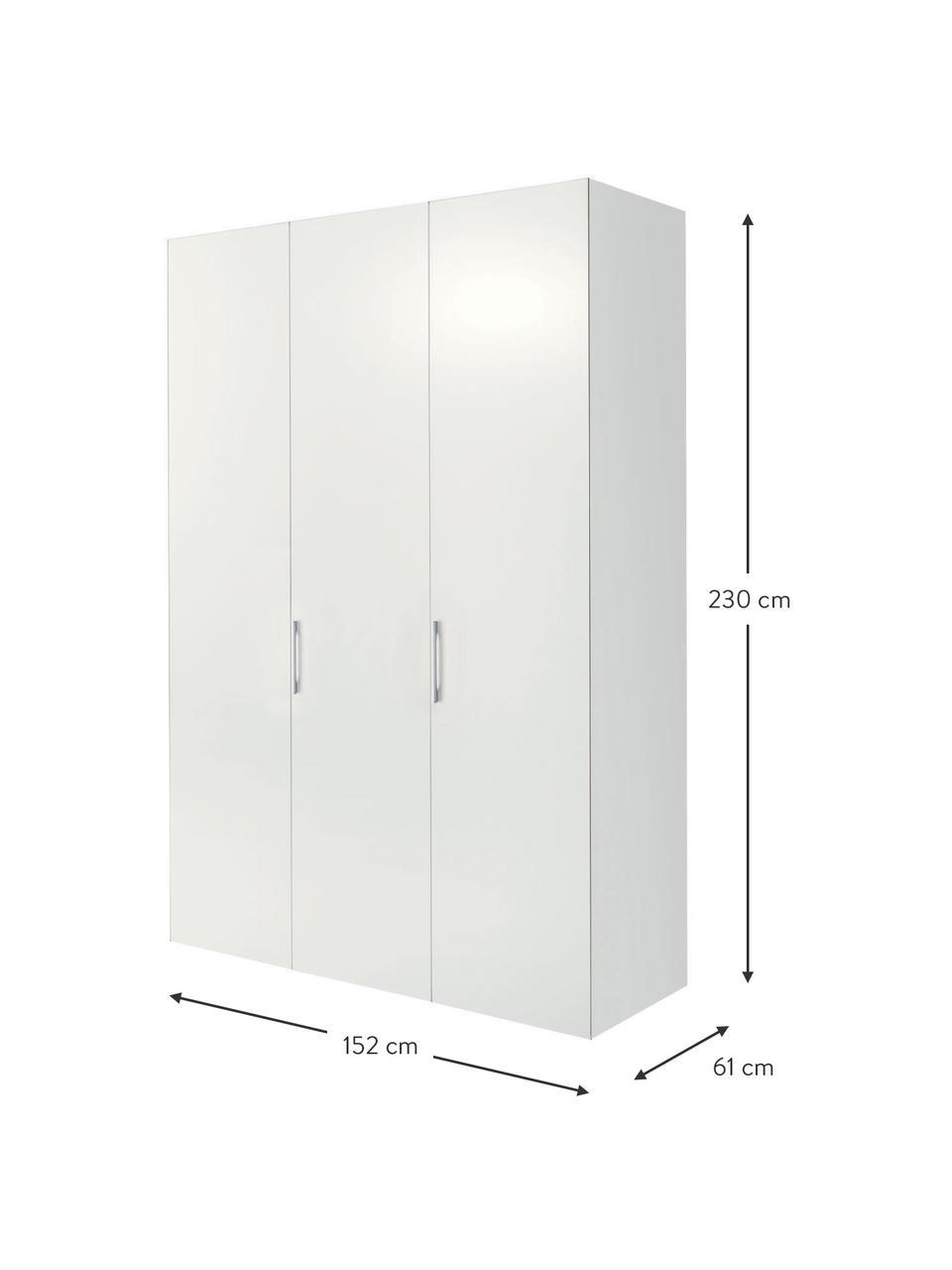 Witte kledingkast Madison, Frame: panelen op houtbasis, gel, Wit, 152 x 230 cm