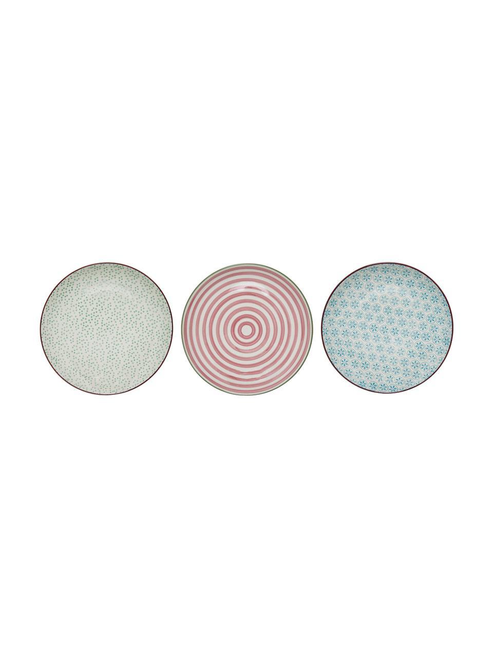 Handbemalte Frühstücksteller Patrizia mit verspieltem Muster, 3er-Set, Steingut, Weiss, Grün, Rot, Blau, Ø 20 cm