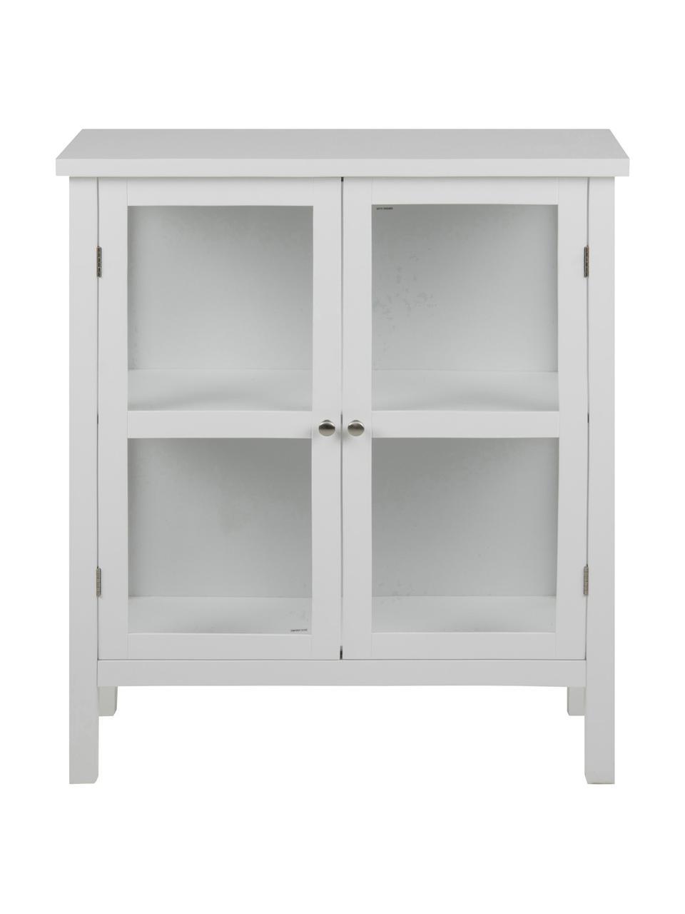 Glasvitrine Eton mit Holzrahmen, Gestell: Mitteldichte Holzfaserpla, Weiß, 80 x 100 cm