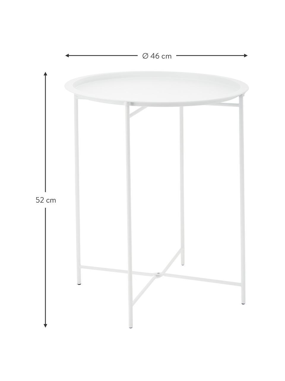Table d'appoint en métal avec plateau amovible Sangro, Blanc