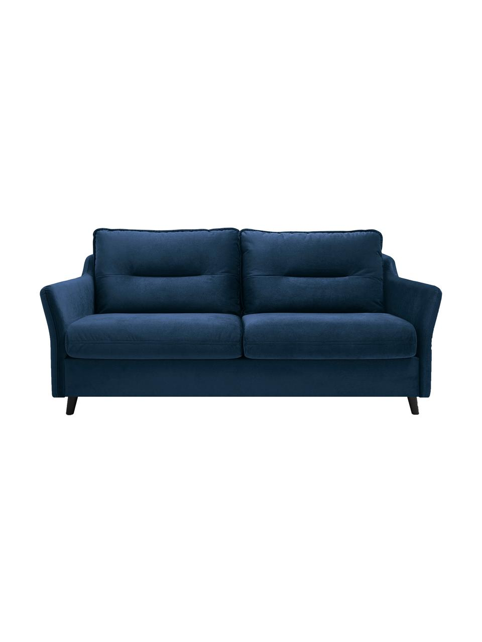 Sofa rozkładana z aksamitu Loft (3-osobowa), Tapicerka: 100% aksamit poliestrowy, Nogi: metal lakierowany, Granatowy, S 191 x G 100 cm