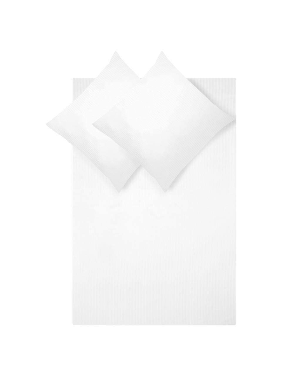 Satinstreifen-Bettwäsche Stella in Weiß, Webart: Satin Fadendichte 250 TC,, Weiß, 135 x 200 cm + 1 Kissen 80 x 80 cm