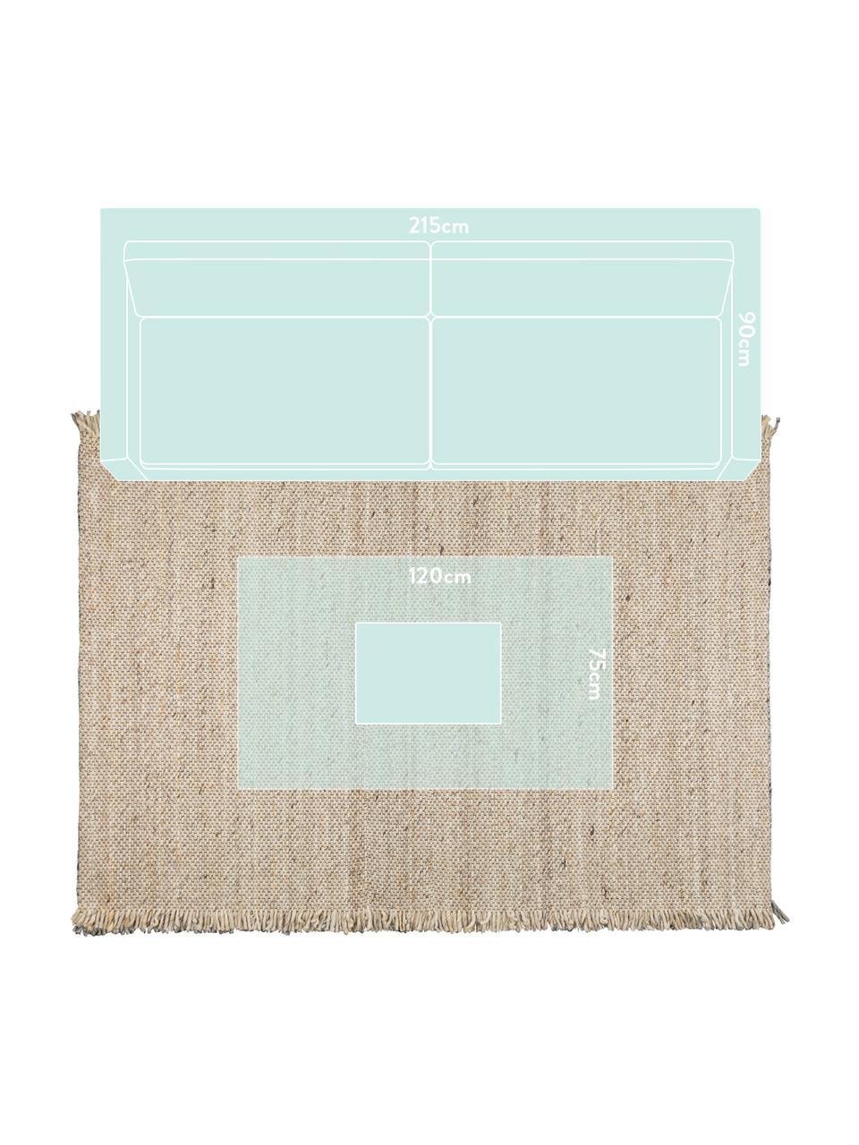 Wollteppich Frills in Beige/Gelb mit Fransen, 170 x 240 cm, Flor: 100% Wolle, Beige, Gelb, B 170 x L 240 cm (Größe M)