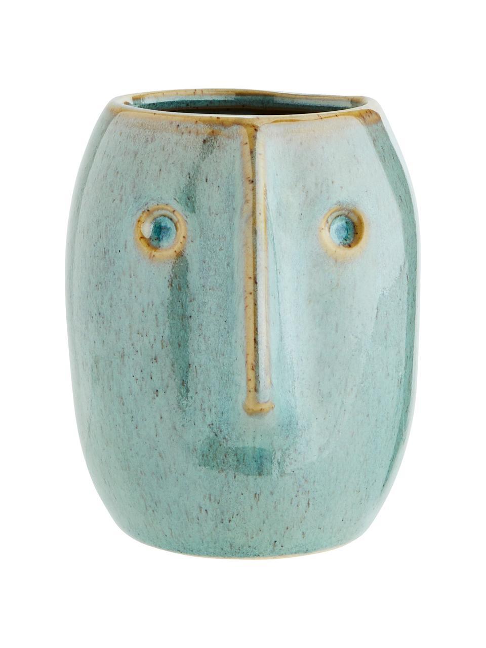 Portavaso in terracotta Face, Terracotta, Verde chiaro, beige, Ø 8 x Alt. 10 cm