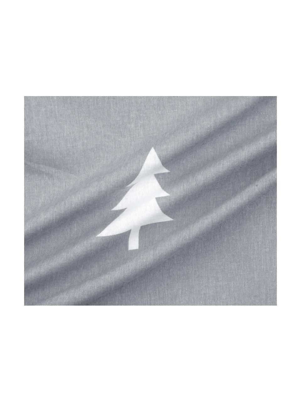 Flanell-Bettwäsche X-mas Tree mit Tannenbäumen, Webart: Flanell Flanell ist ein k, Dunkelgrau, Cremeweiß, 240 x 220 cm + 2 Kissen 80 x 80 cm