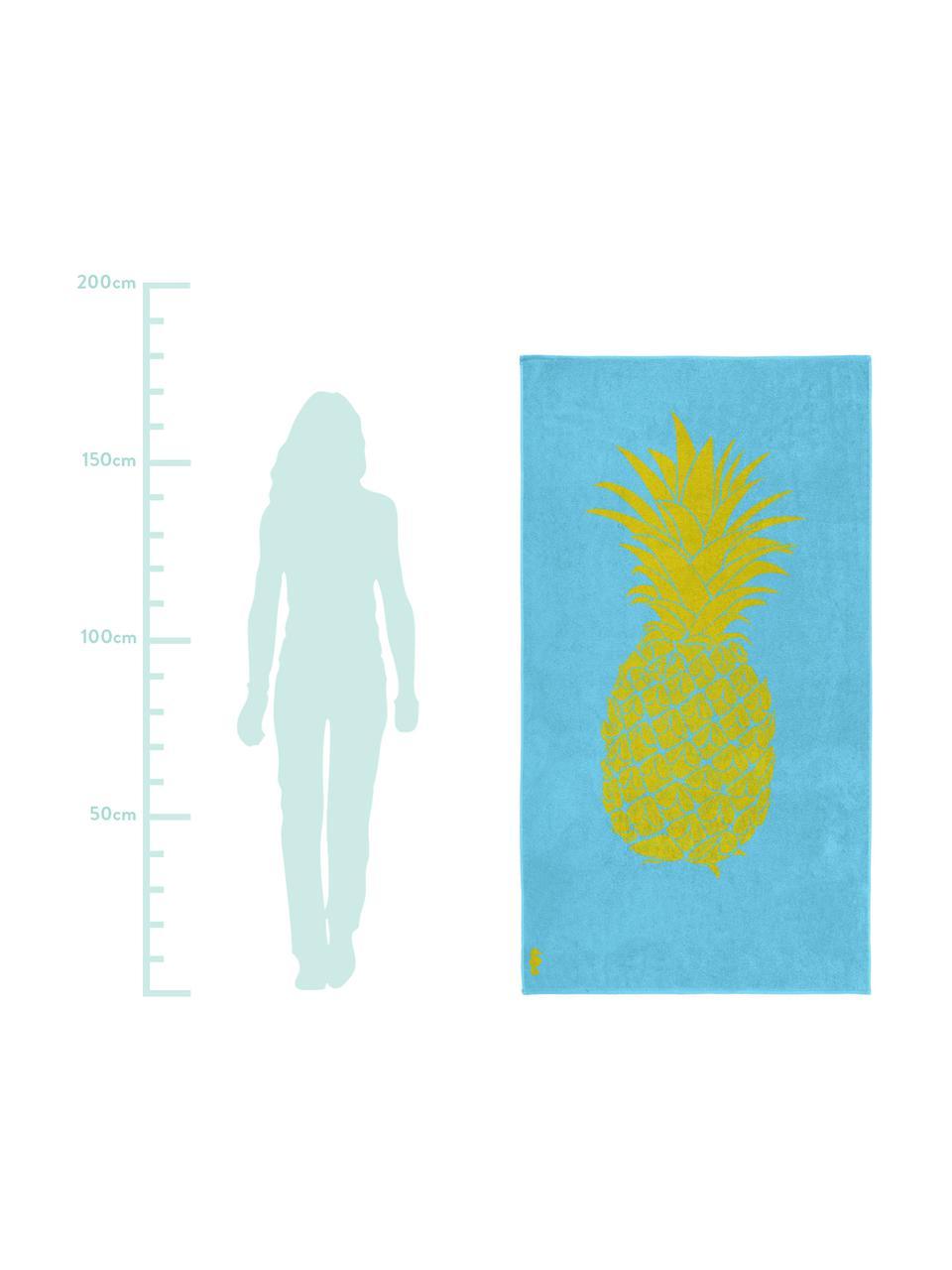 Strandlaken Ananas, 100% fluweel (katoen) Middelzware stofkwaliteit, 420g/m², Lichtblauw, geel, 100 x 180 cm