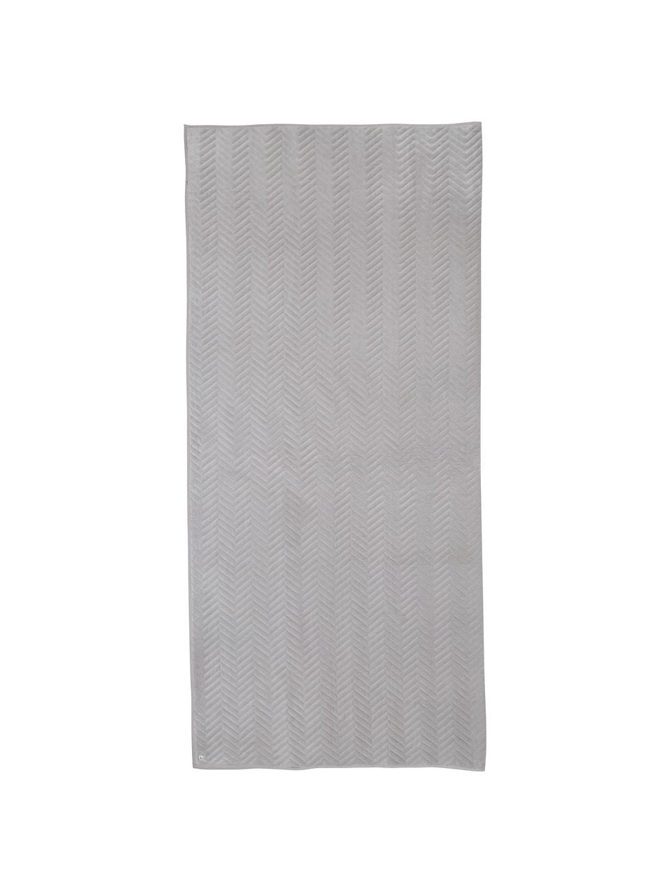 Copriletto in velluto grigio beige Chevron, Velluto, Grigio beige, Larg. 240 x Lung. 260 cm