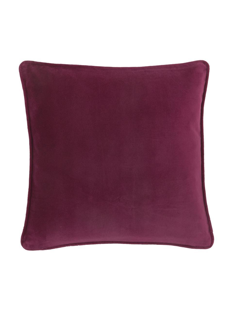 Federa arredo in velluto vino rosso Dana, 100% velluto di cotone, Vino rosso, Larg. 50 x Lung. 50 cm