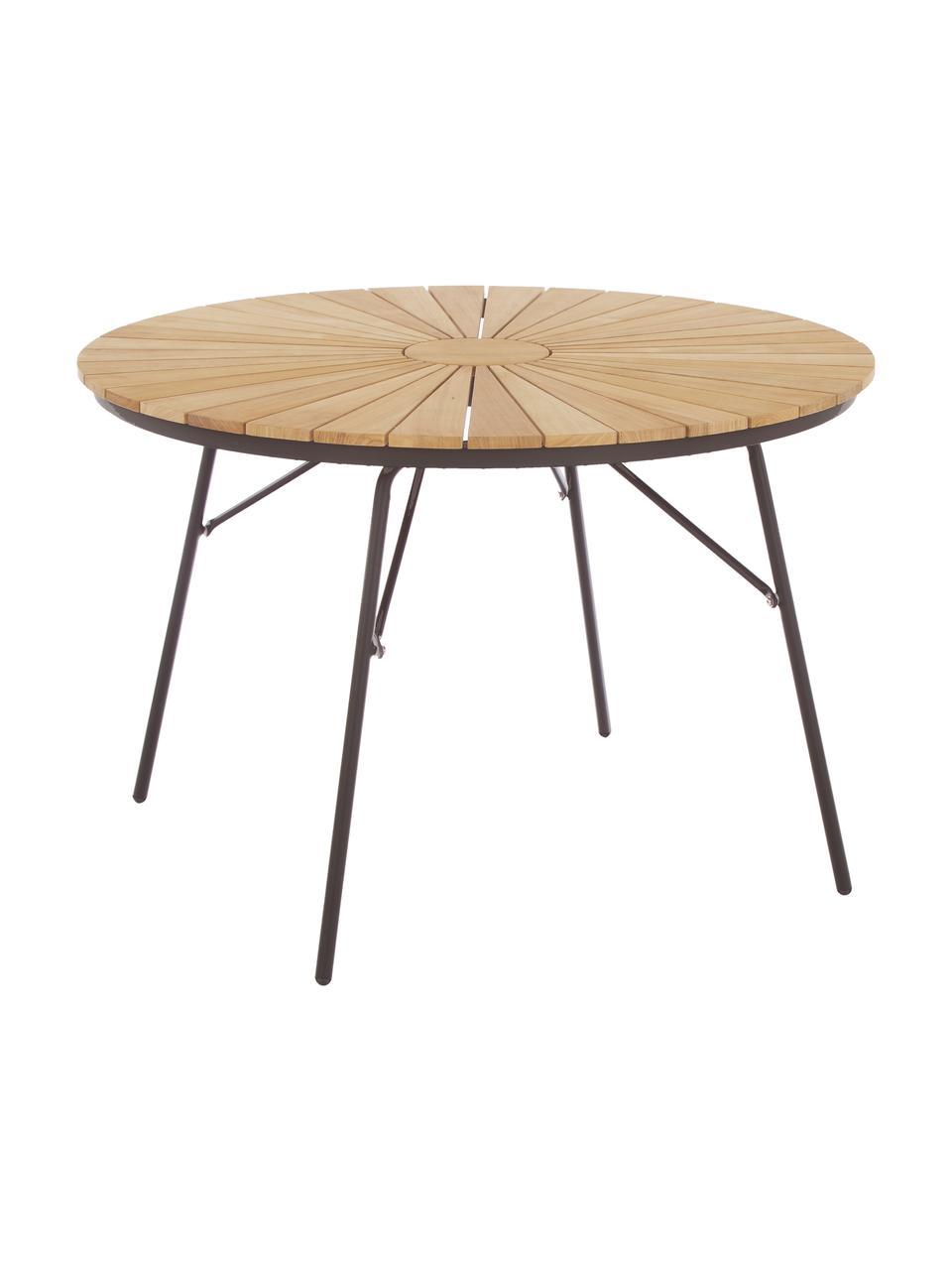Table de jardin ronde en bois Hard & Ellen, Anthracite, teck