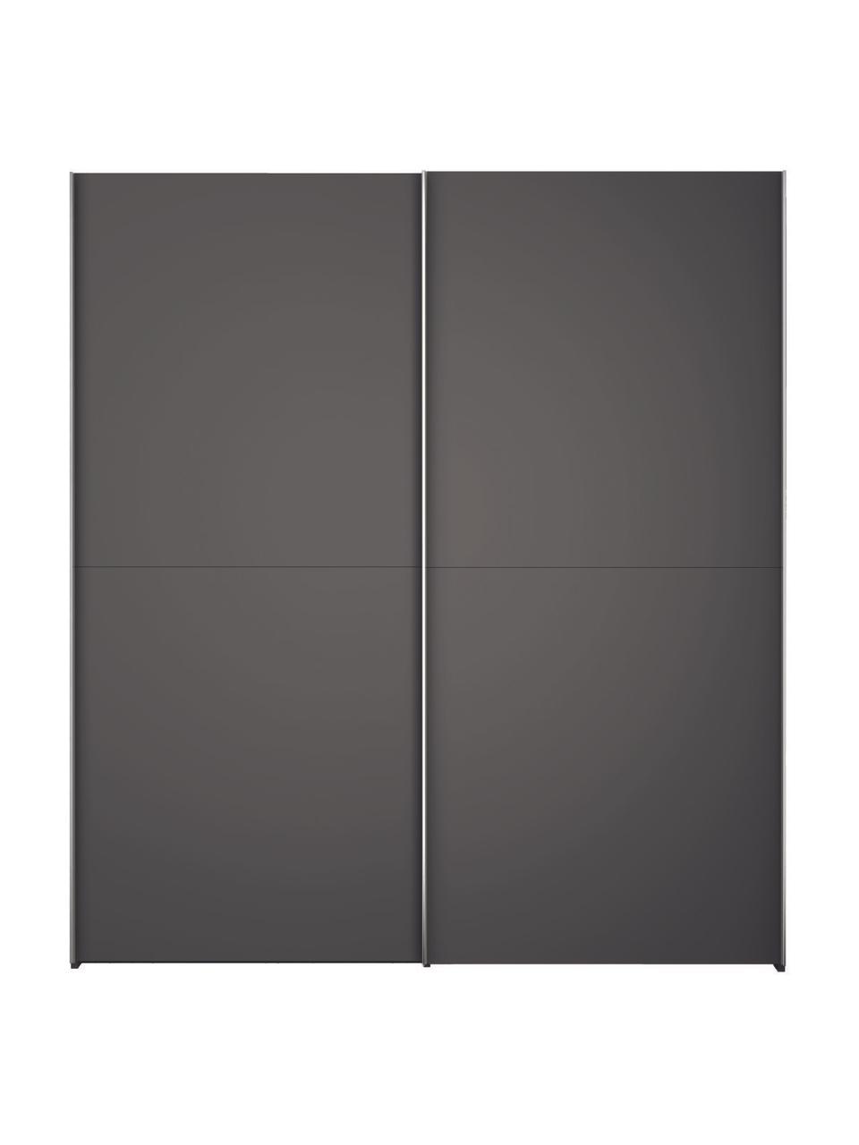 Donkergrijze kledingkast Oliver met schuifdeuren, Frame: panelen op houtbasis, gel, Donkergrijs, 202 x 225 cm