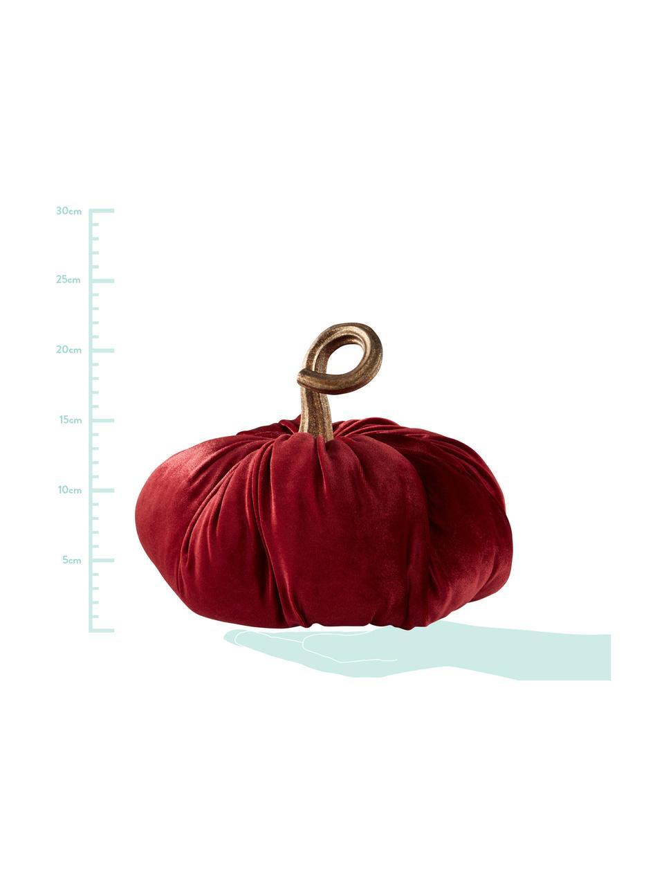 Decoratieve fluwelen pompoen Pumpis, 15% polyresin, 35% acryl, 25% polyester, 25% kwartszandvulling, Rood, Ø 24 x H 22 cm