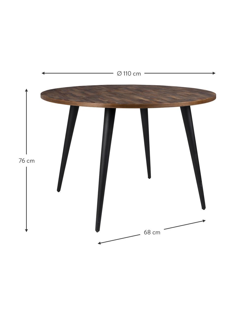 Tavolo rotondo con piano in legno di teak Mo, Gambe: acciaio verniciato e rive, Piano d'appoggio: legno di teak Gambe: nero, Ø 110 x Alt. 76 cm