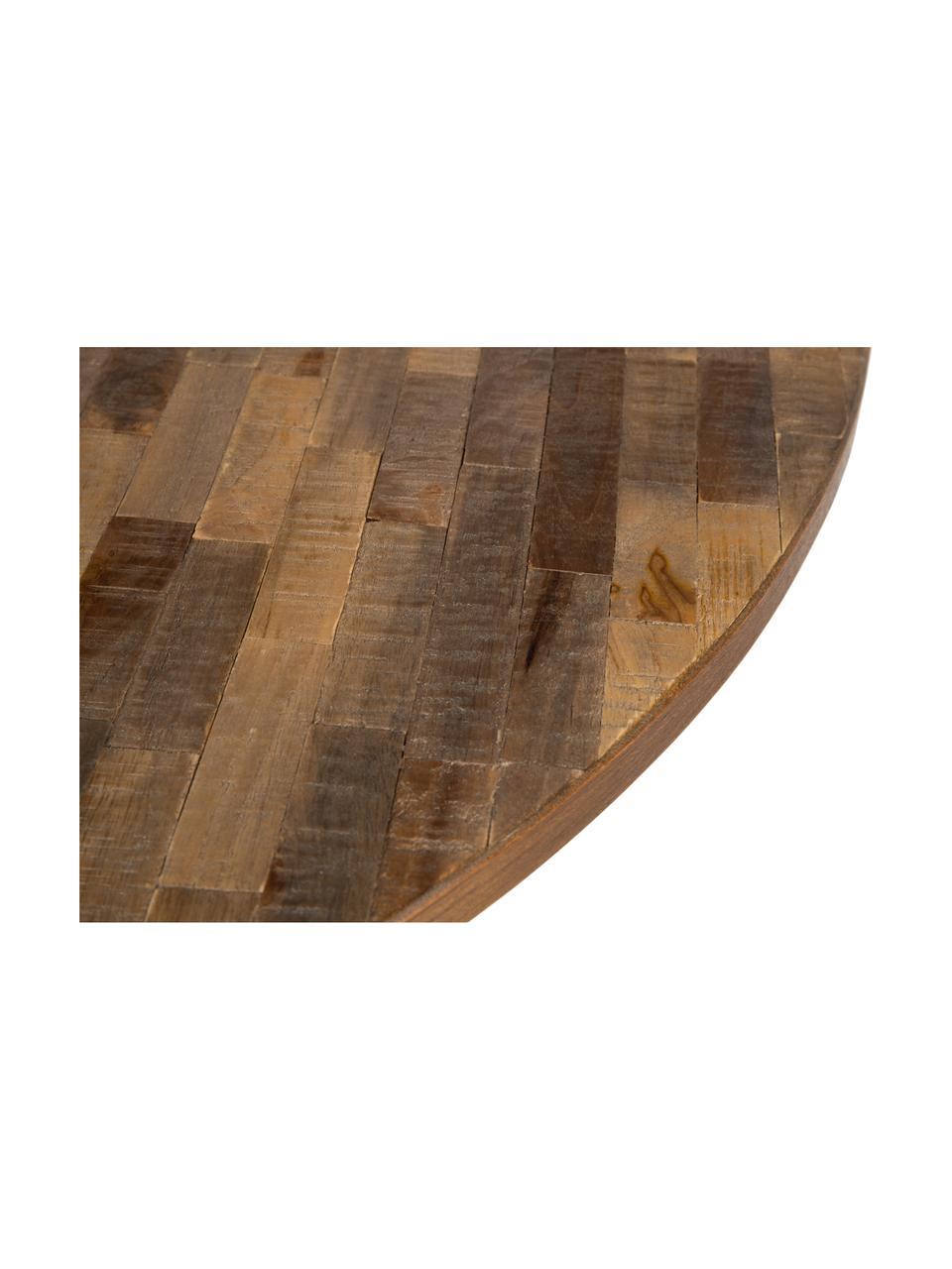 Table ronde teck Mo, Plateau: bois de teck Pieds: noir