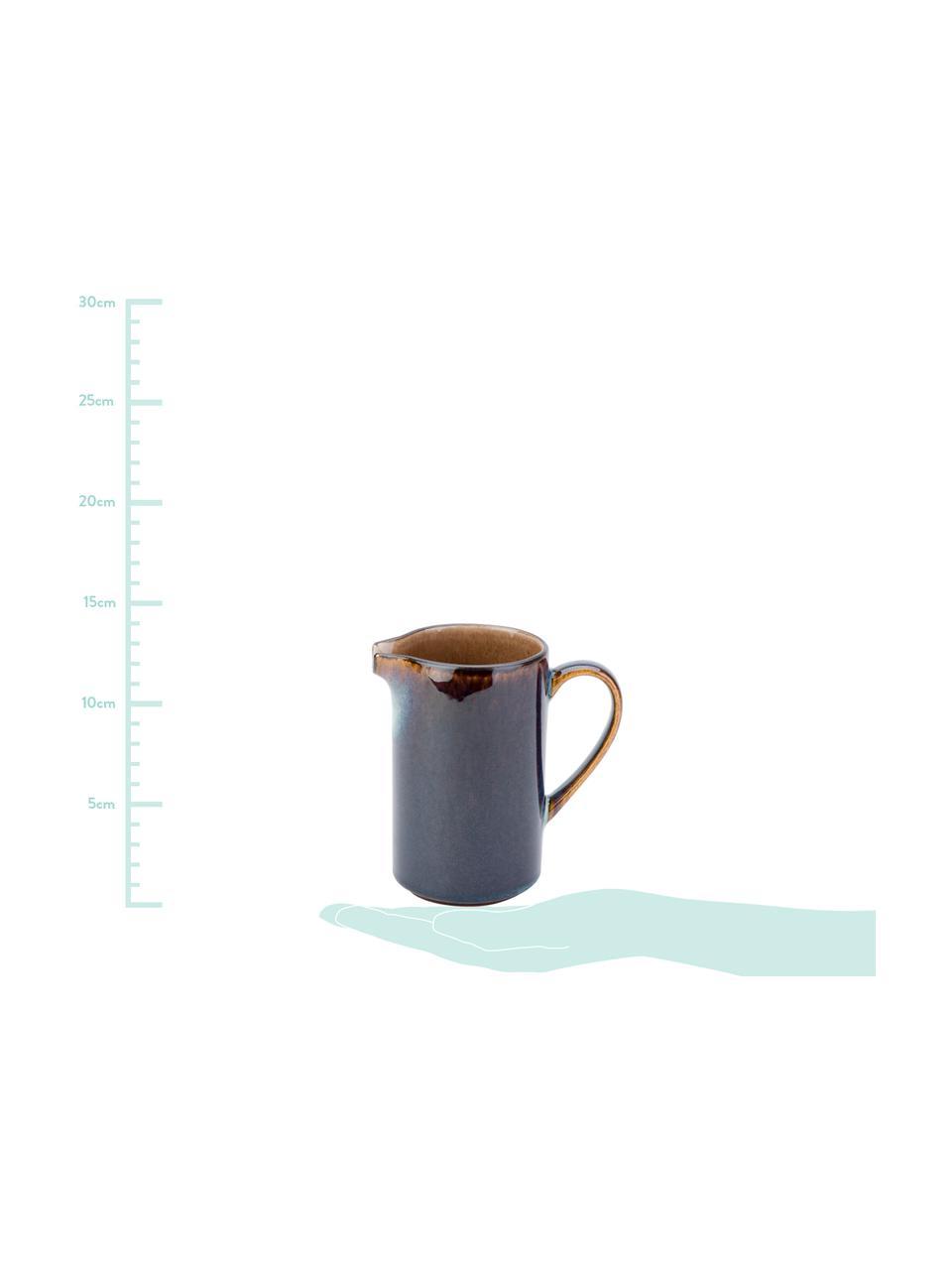 Handgemachte Porzellan Milchkanne Quintana Amber mit Farbverlauf Blau/Braun, 300 ml, Porzellan, Blau- und Brauntöne, Ø 7 x H 12 cm