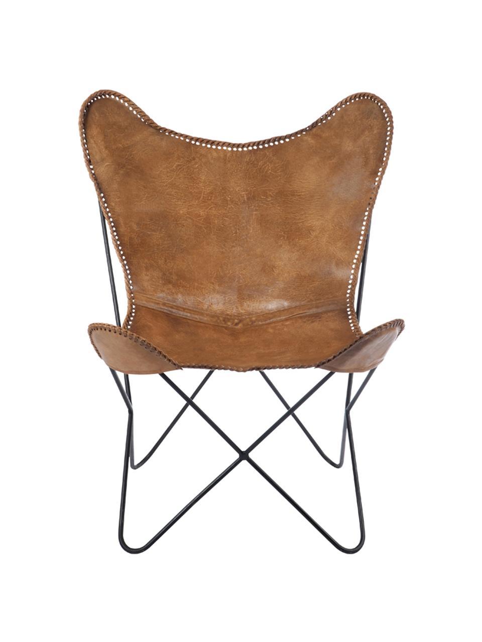 Sedia a poltrona in pelle Brady, Seduta: pelle di capra, Struttura: metallo verniciato, Marrone, Larg. 67 x Prof. 73 cm