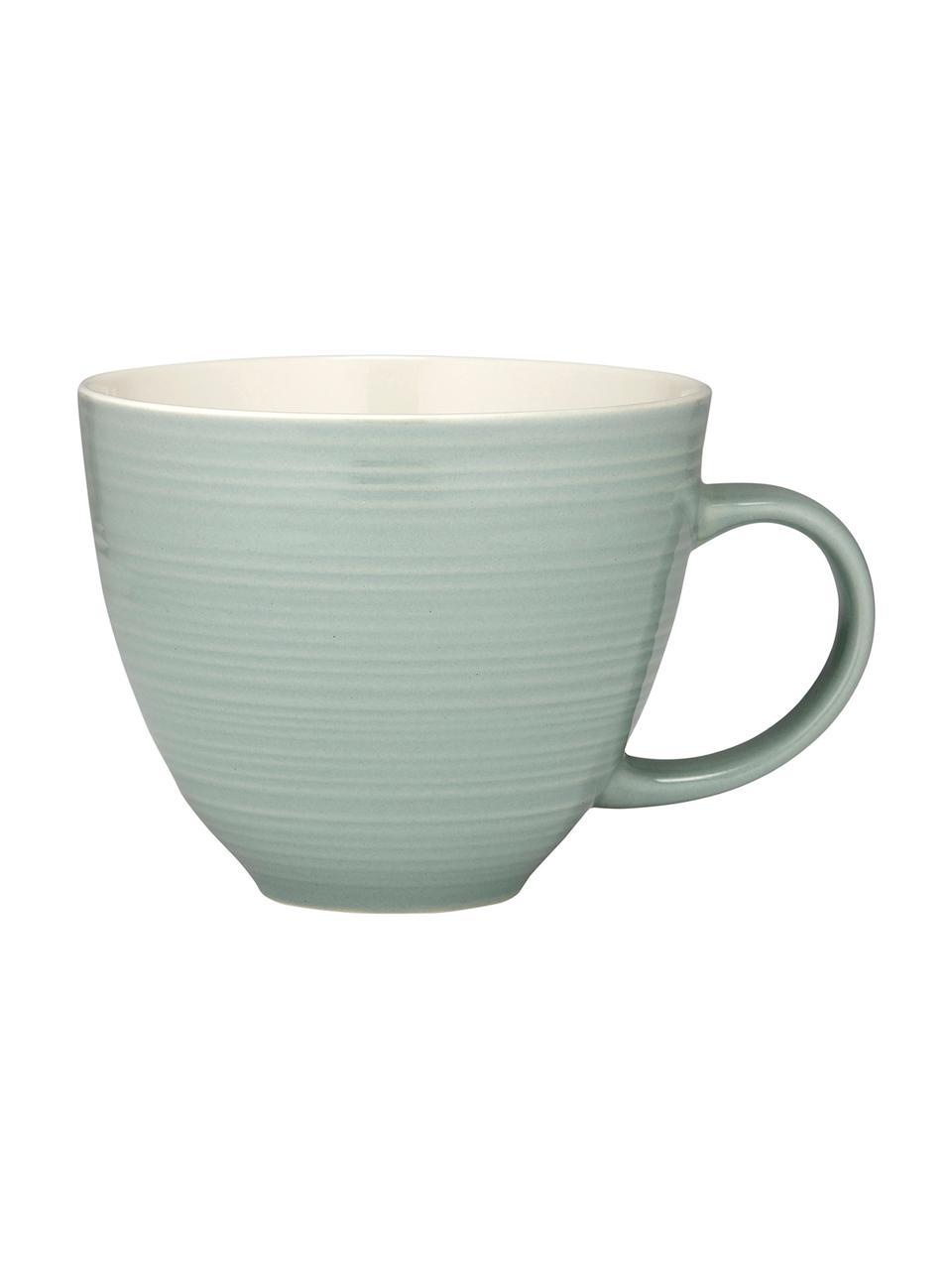 Kaffeetassen Darby mit Strukturoberfläche, 4 Stück, New Bone China, Grün, Gebrochenes Weiß, Ø 11 x H 10 cm