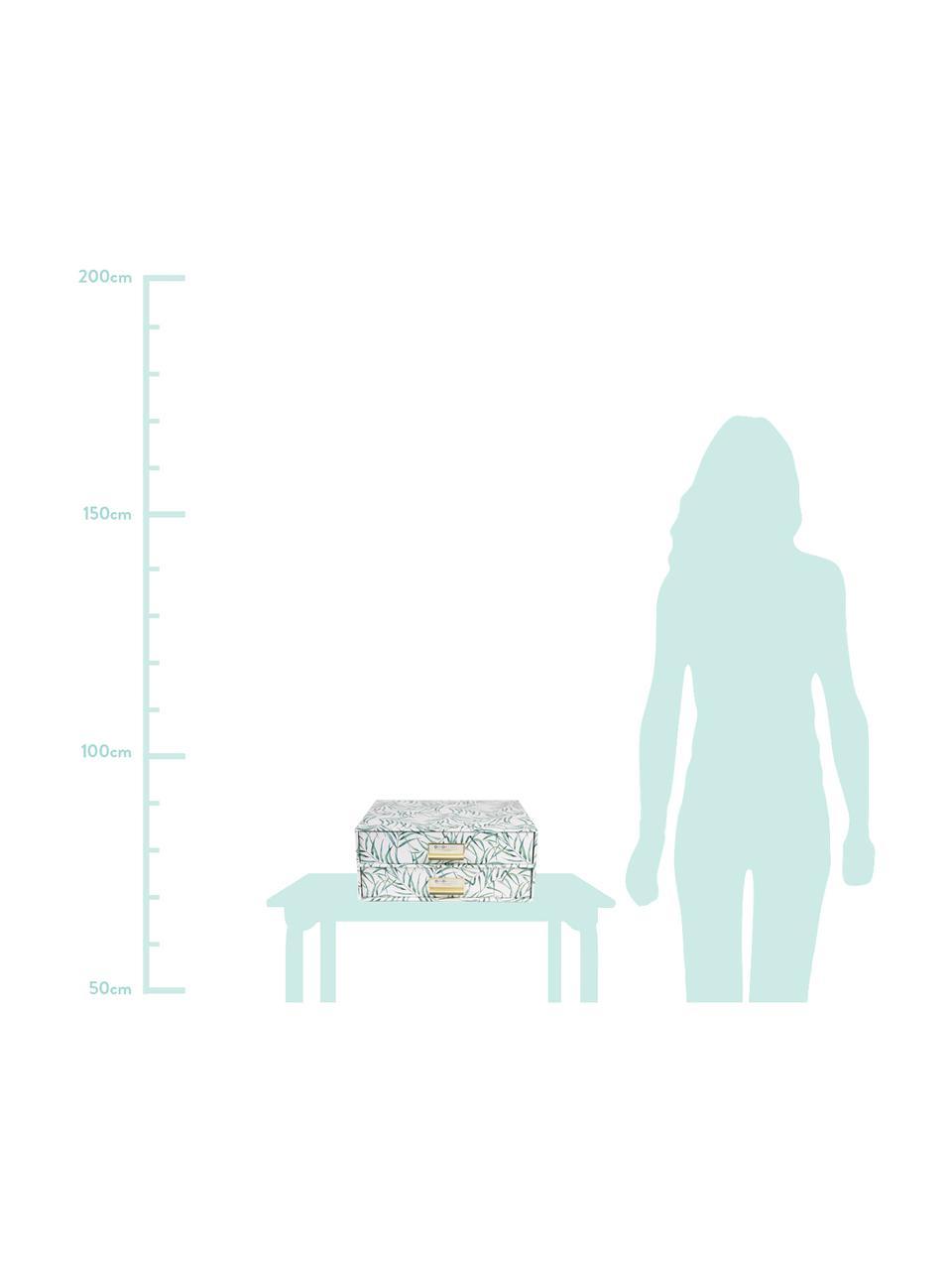 Büro-Organizer Leaf, Organizer: Fester, laminierter Karto, Griff: Metall, Weiß, Grün, 33 x 15 cm
