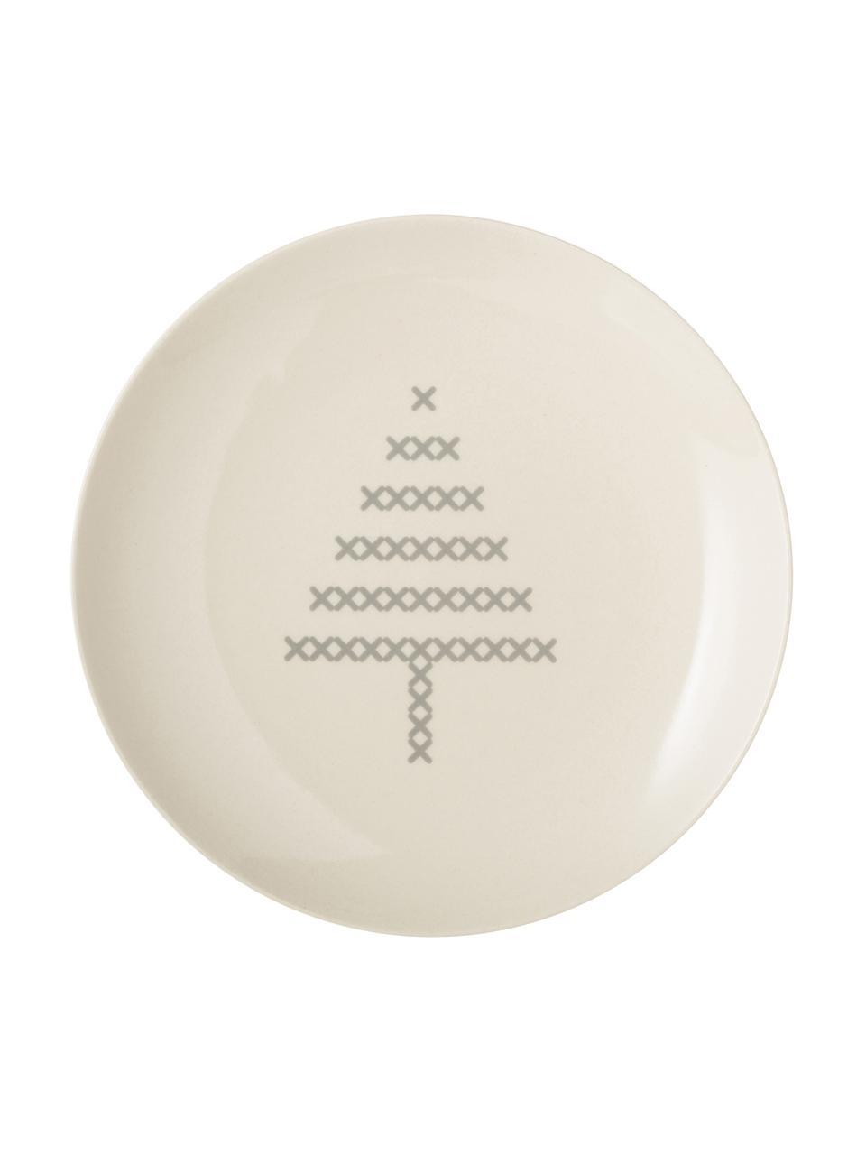 Brotteller Cross mit Weihnachts-Motiv, Keramik, Gebrochenes Weiß, Grau, Ø 16 cm