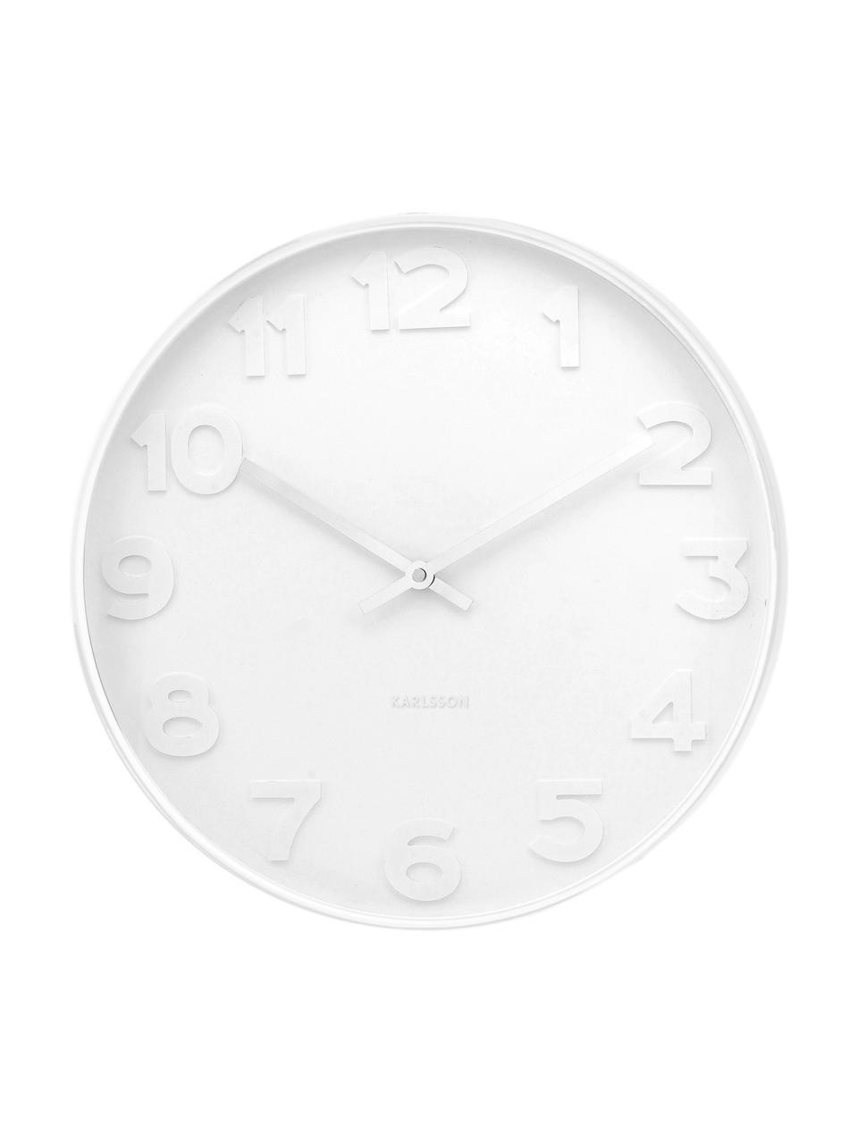 Orologio da parete Mr. White, Quadrante, cornice: bianco<br>Puntatore: argento, Ø 38 cm