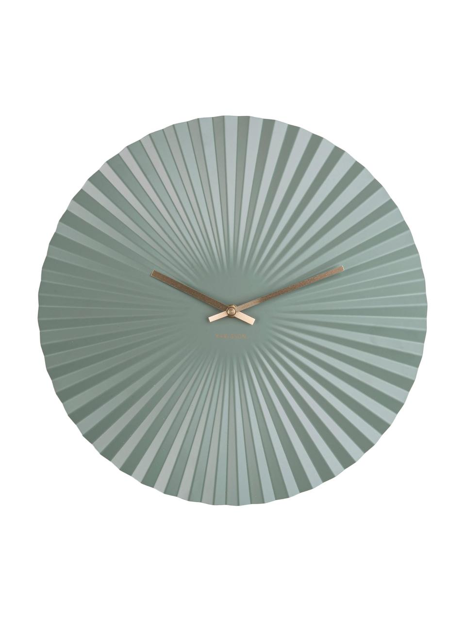 Wandklok Sensu, Gecoat metaal, Mintgroen, messingkleurig, Ø 40 cm