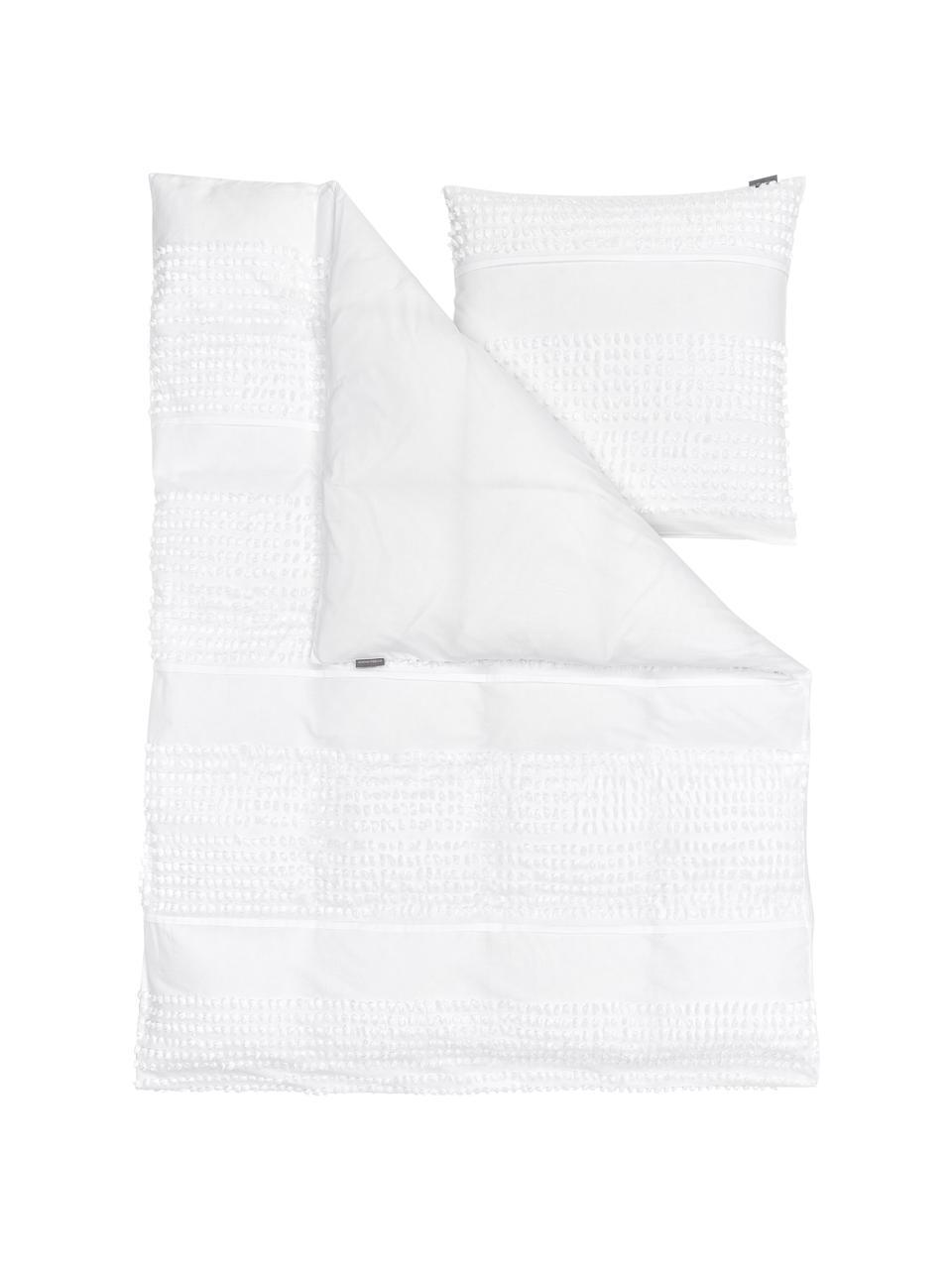Baumwoll-Bettwäsche Endure mit getufteter Verzierung, 100% Baumwolle  Fadendichte 144 TC, Standard Qualität  Bettwäsche aus Baumwolle fühlt sich auf der Haut angenehm weich an, nimmt Feuchtigkeit gut auf und eignet sich für Allergiker, Weiß, 155 x 220 cm + 1 Kissen 80 x 80 cm