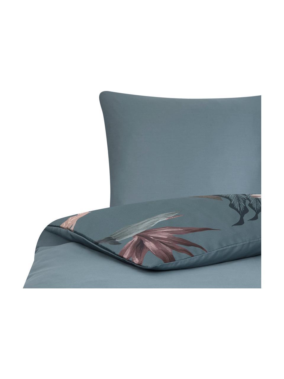 Pościel z satyny bawełnianej Flora, Przód: wielobarwny Tył: petrol, 135 x 200 cm + 1 poduszka 80 x 80 cm