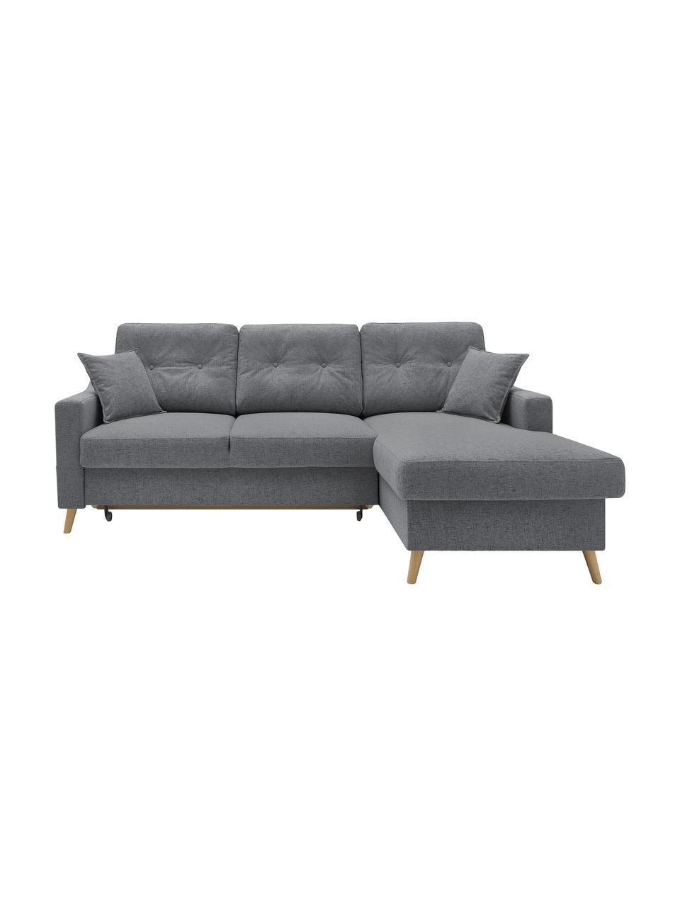 Sofa narożna z funkcją spania i miejscem do przechowywania Sweden, Tapicerka: poliester, Nogi: drewno naturalne, Szary, S 224 x G 149 cm