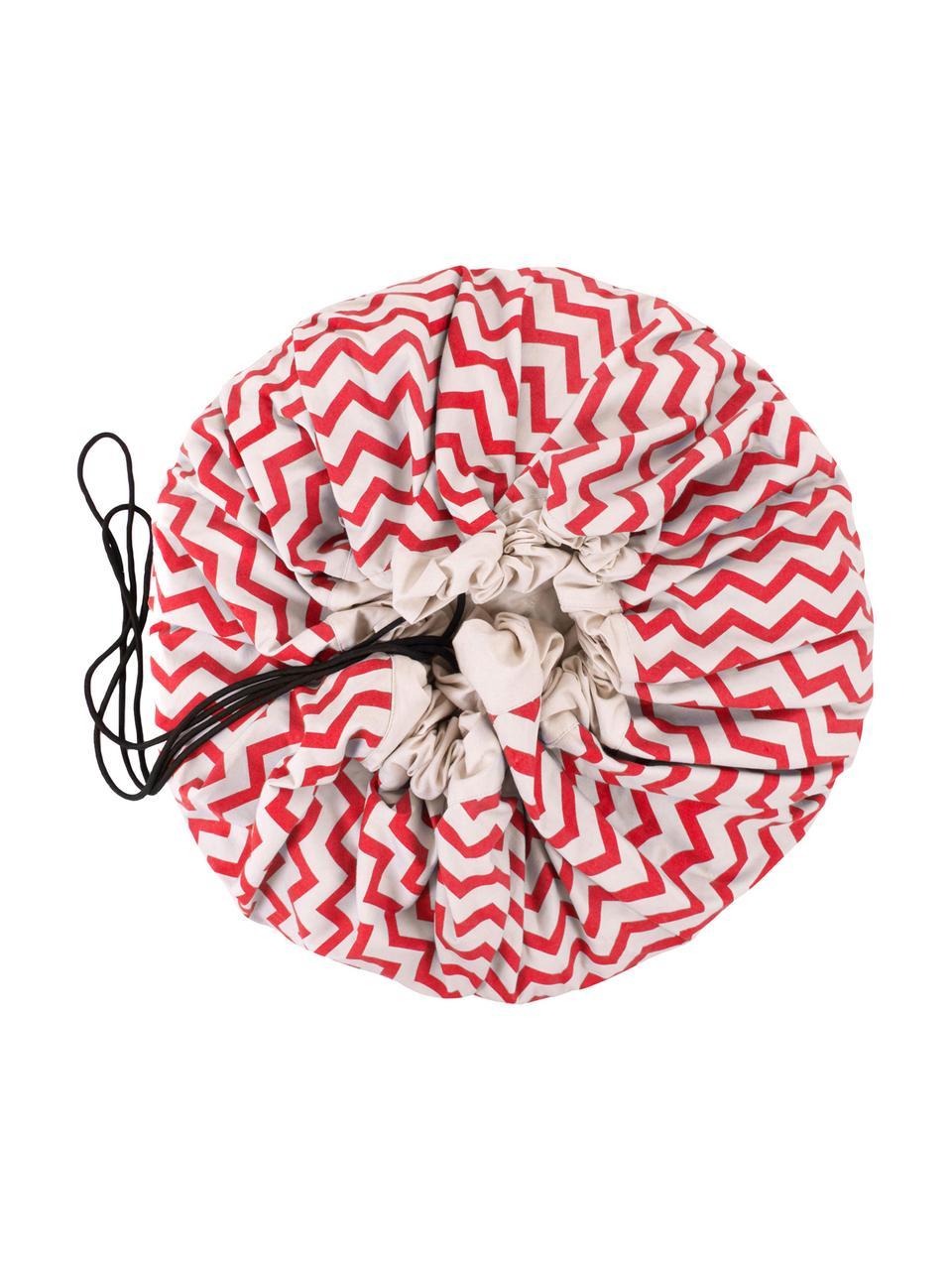 Spieldecke Zigzag, Polyester, Rot, Weiß, Ø 140 cm