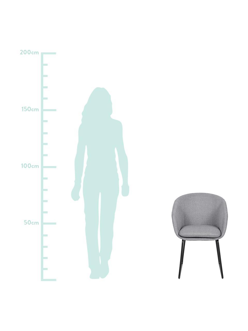 Gepolsterter Armlehnstuhl Juri, Bezug: Polyester Der hochwertige, Beine: Metall, pulverbeschichtet, Hellgrau, B 58 x T 58 cm