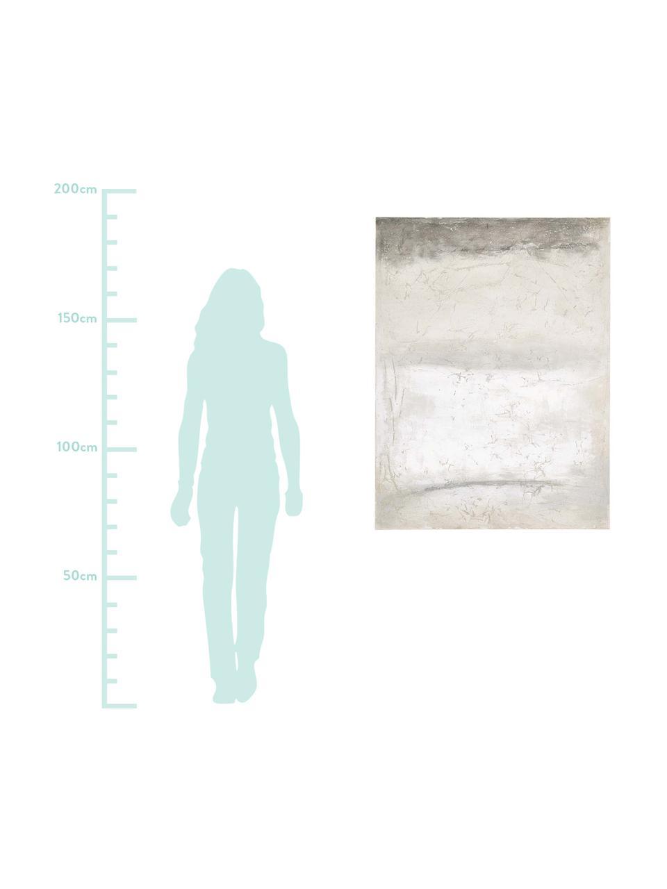 Stampa su tela dipinta a mano Shapes, Immagine: stampa digitale su tela, , Barella: legno, Grigio, Larg. 90 x Alt. 120 cm