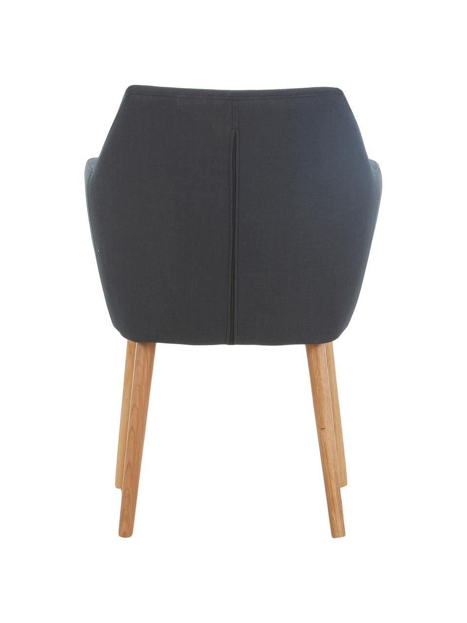 Krzesło z podłokietnikami scandi Nora, Tapicerka: 100%poliester, Nogi: drewno dębowe, Tapicerka: antracytowy Nogi: drewno dębowe, S 58 x W 84 cm