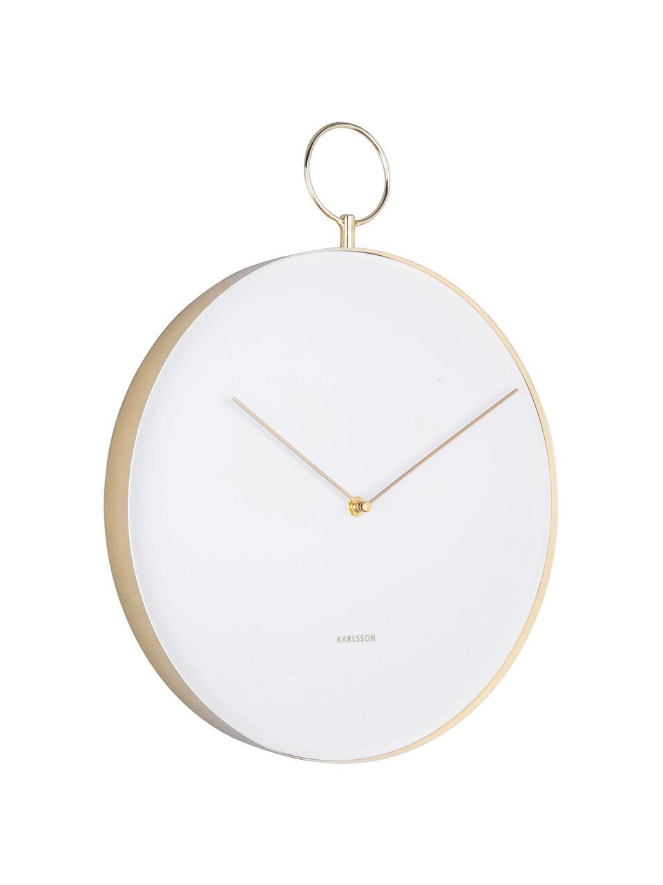 Orologio da parete Hook, Metallo rivestito, Bianco, ottonato, Ø 34 cm