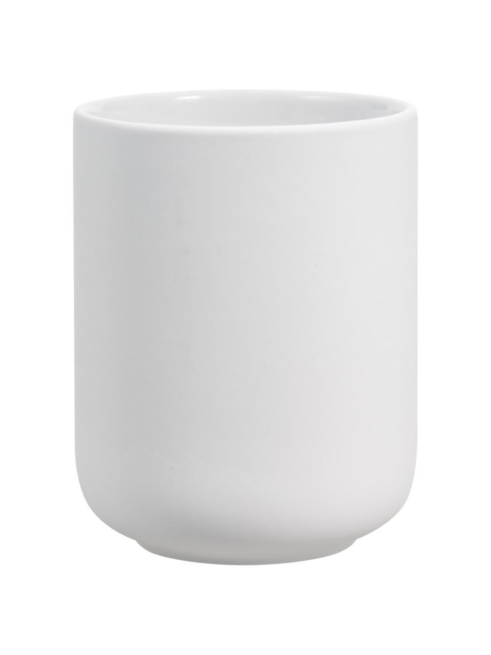 Tandenborstelbeker Ume van keramiek, Keramiek overtrokken met soft-touch oppervlak (kunststof), Mat wit, Ø 8 x H 10 cm