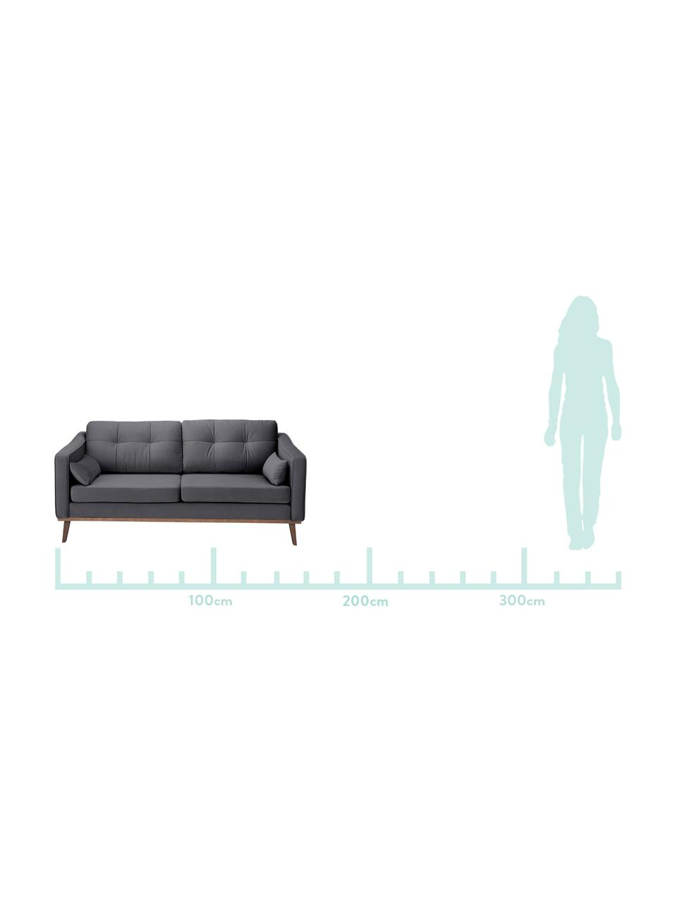 Samt-Sofa Alva (2-Sitzer) in Dunkelgrau mit Holz-Füßen, Bezug: Samt (Hochwertiger Polyes, Gestell: Massives Kiefernholz, Füße: Massives Buchenholz, gebe, Dunkelgrau, B 184x T 94 cm
