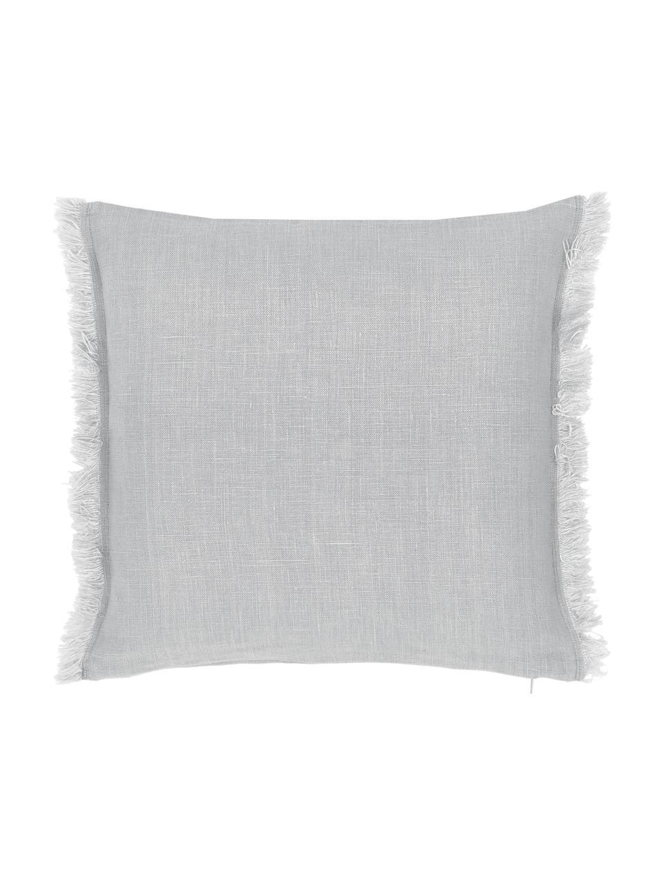 Federa arredo in lino grigio chiaro con frange Luana, 100% lino, Grigio chiaro, Larg. 40 x Lung. 40 cm