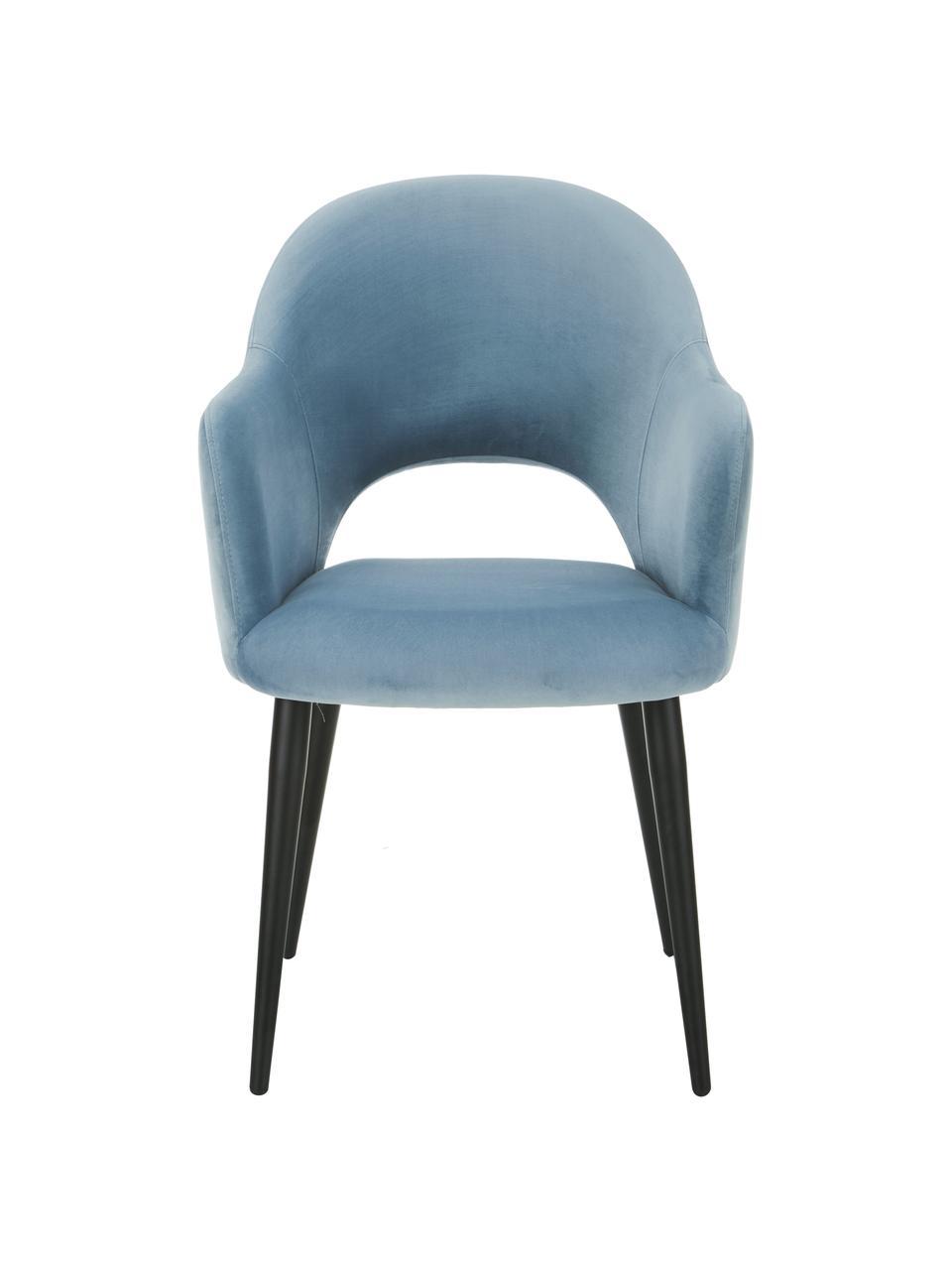 Chaise rembourrée velours bleu Rachel, Velours bleu ciel