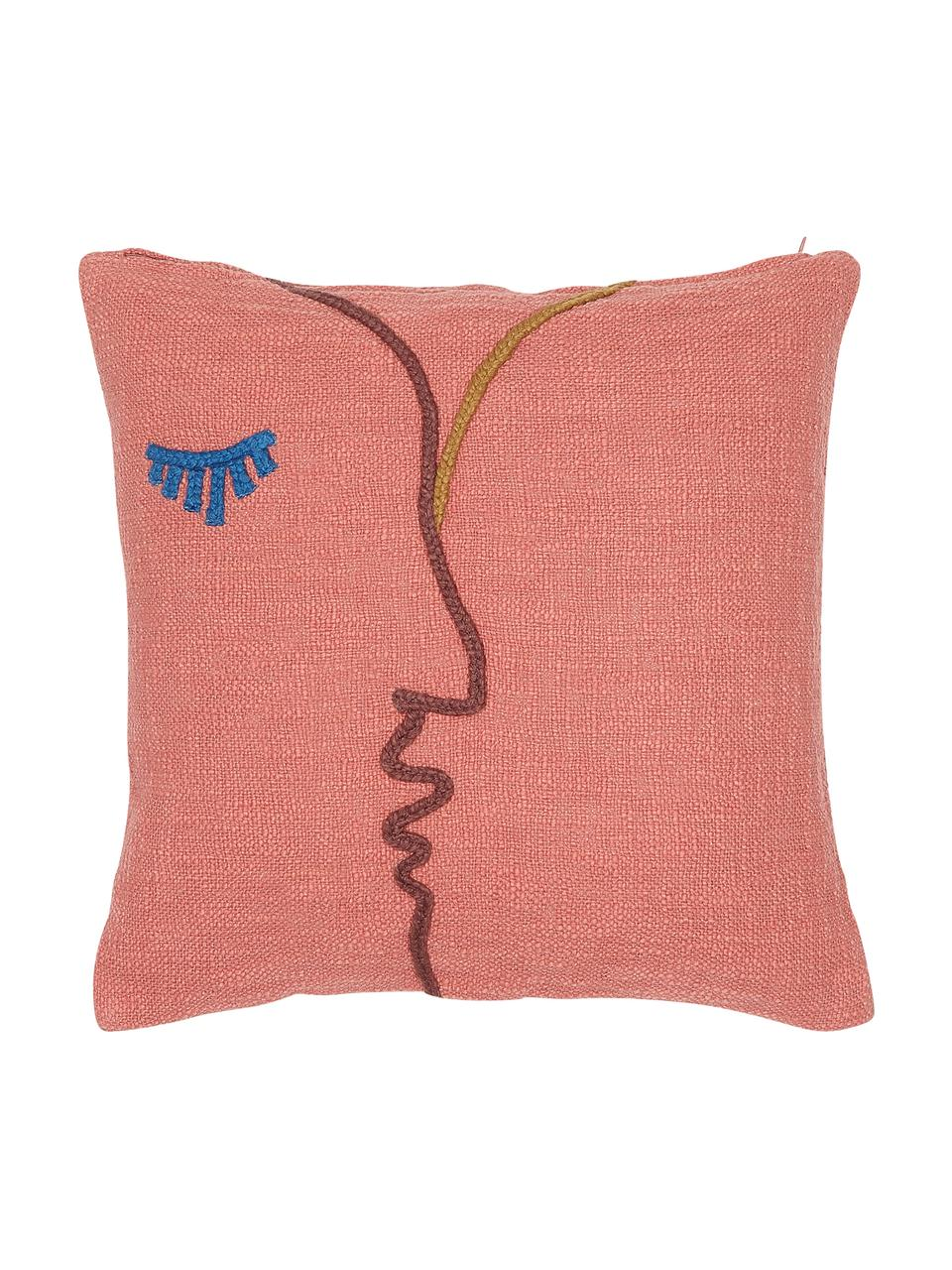 Haftowana poszewka na poduszkę z bawełny organicznej Faces, 100% bawełna organiczna, Koralowy, ciemny czerwony, niebieski, musztardowy, S 45 x D 45 cm