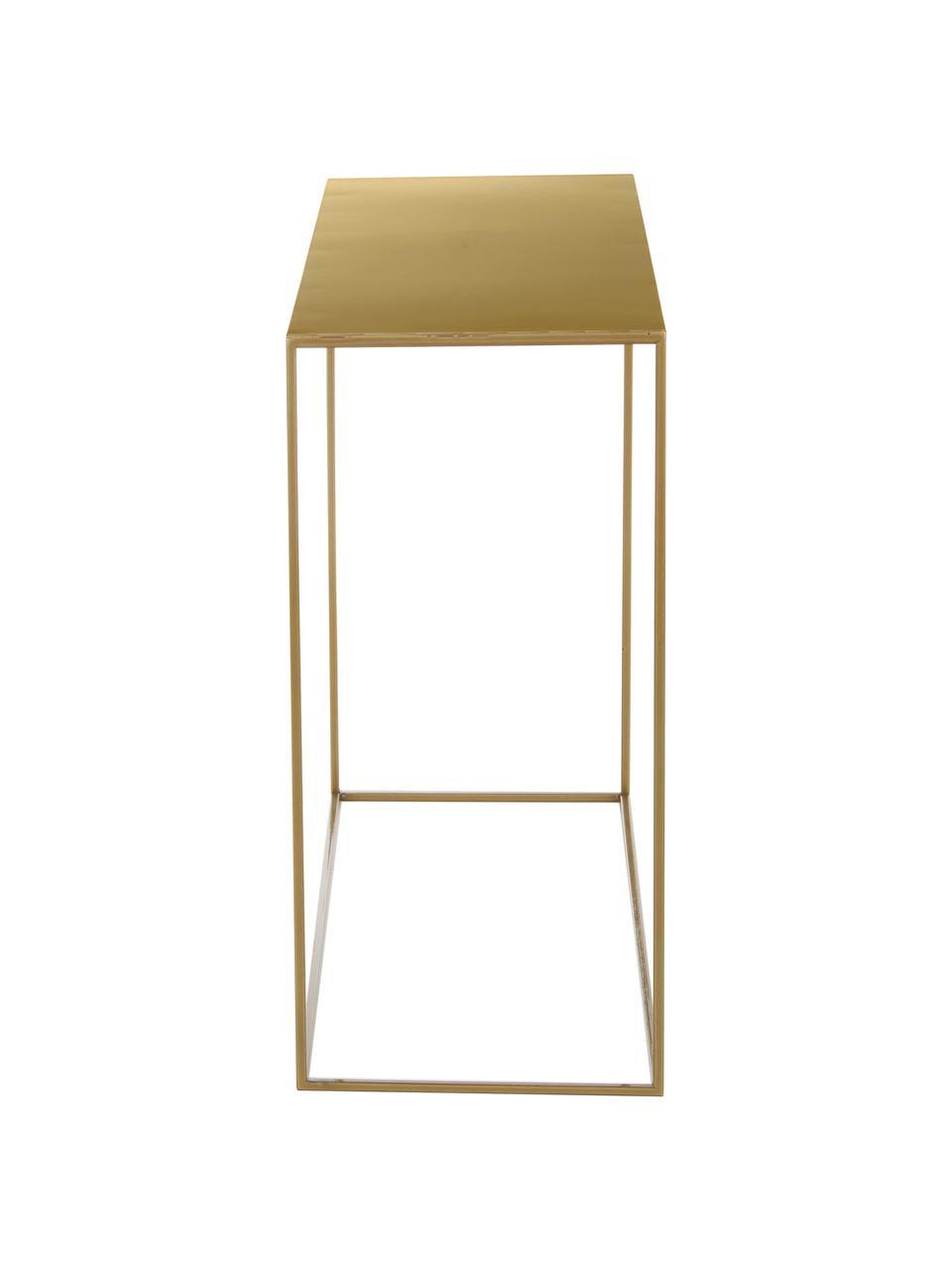 Consolle in metallo ottonato Tensio, Metallo verniciato a polvere, Nero, Larg. 100 x Prof. 35 cm
