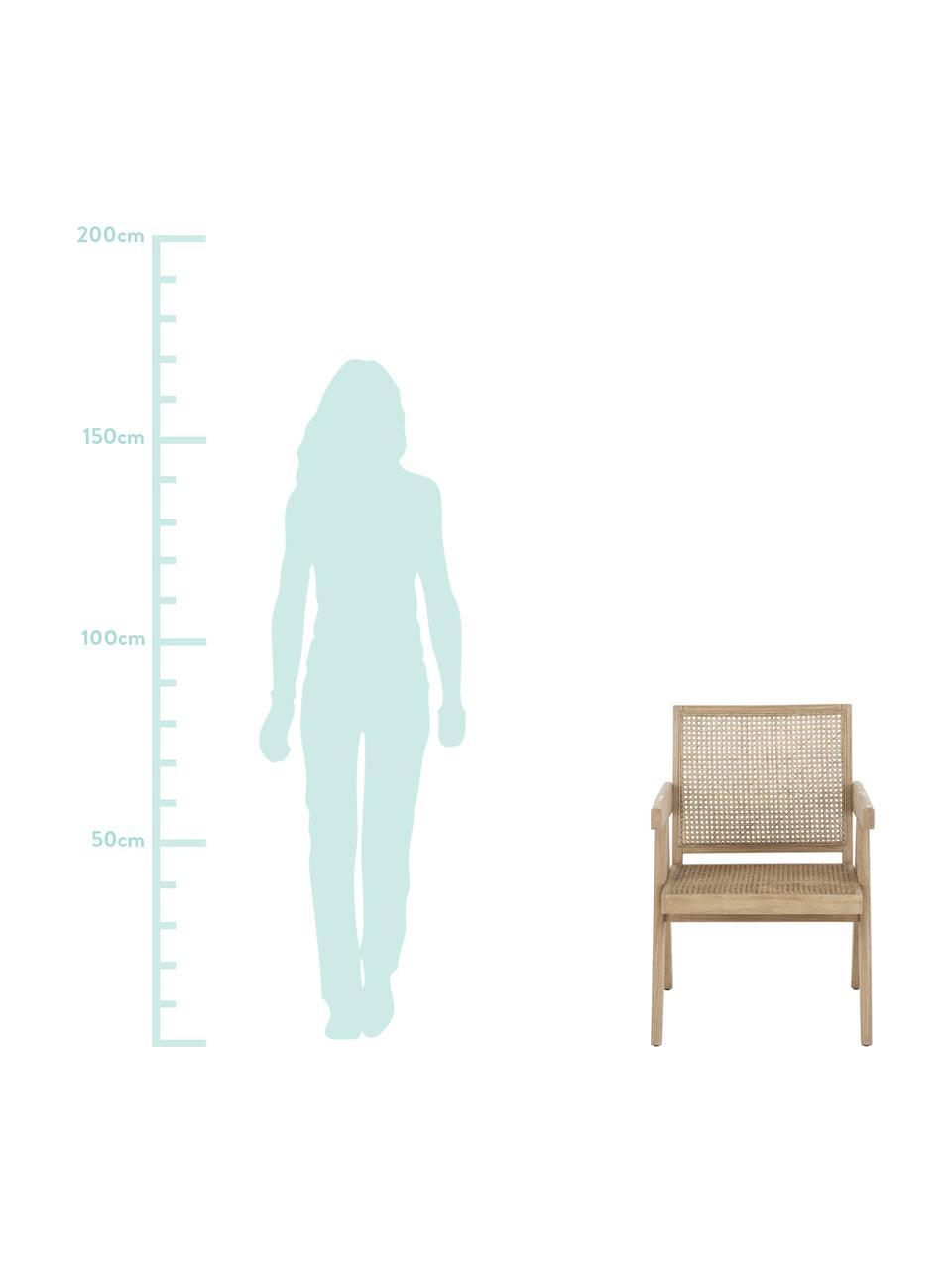 Fotel wypoczynkowy z plecionką wiedeńską Sissi, Stelaż: lite drewno dębowe, Stelaż: drewno dębowe Siedzisko: beżowy, S 58 x G 66 cm