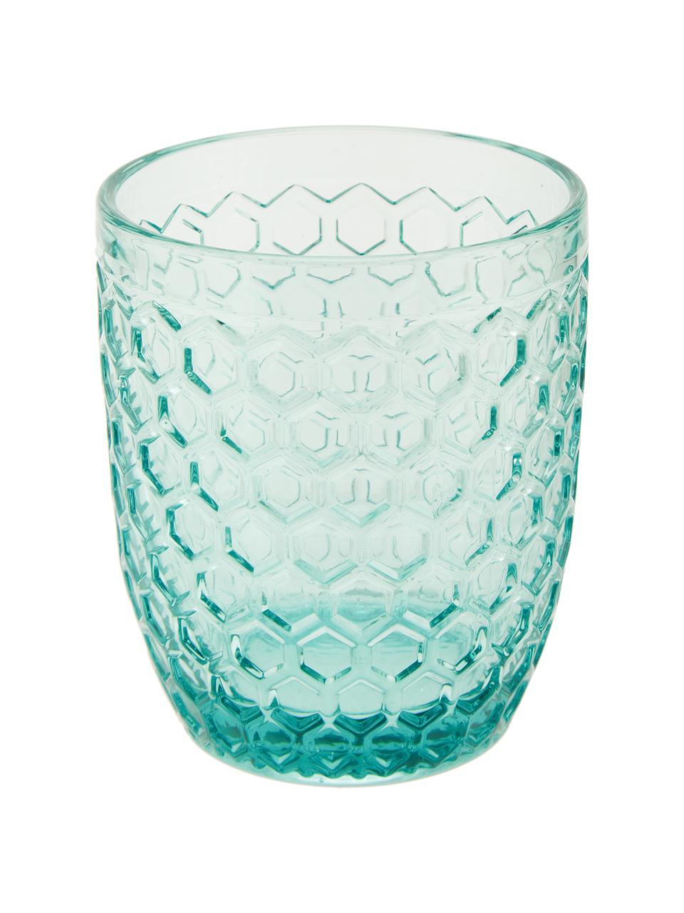 Verre à eau avec embossage décoratif Geometrie, 6élém., Bleu, vert, gris, rose, jaune or, transparent