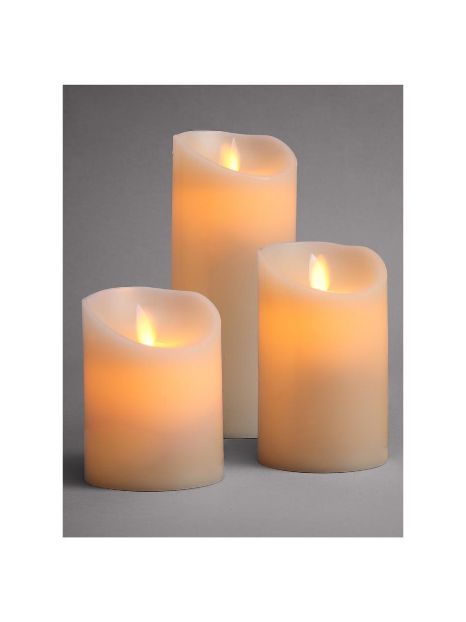 LED-kaarsen Glowing Flame, 3-delig, Roségoudkleurig, Crèmekleurig, Set met verschillende formaten