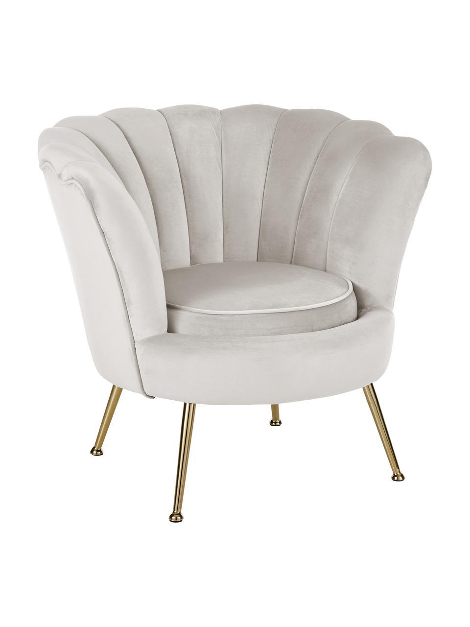 Samt-Sessel Oyster in Beige, Bezug: Samt (Polyester) 30.000 S, Gestell: Sperrholz, Füße: Metall, galvanisiert, Samt Cremeweiß , 81 x 75 cm